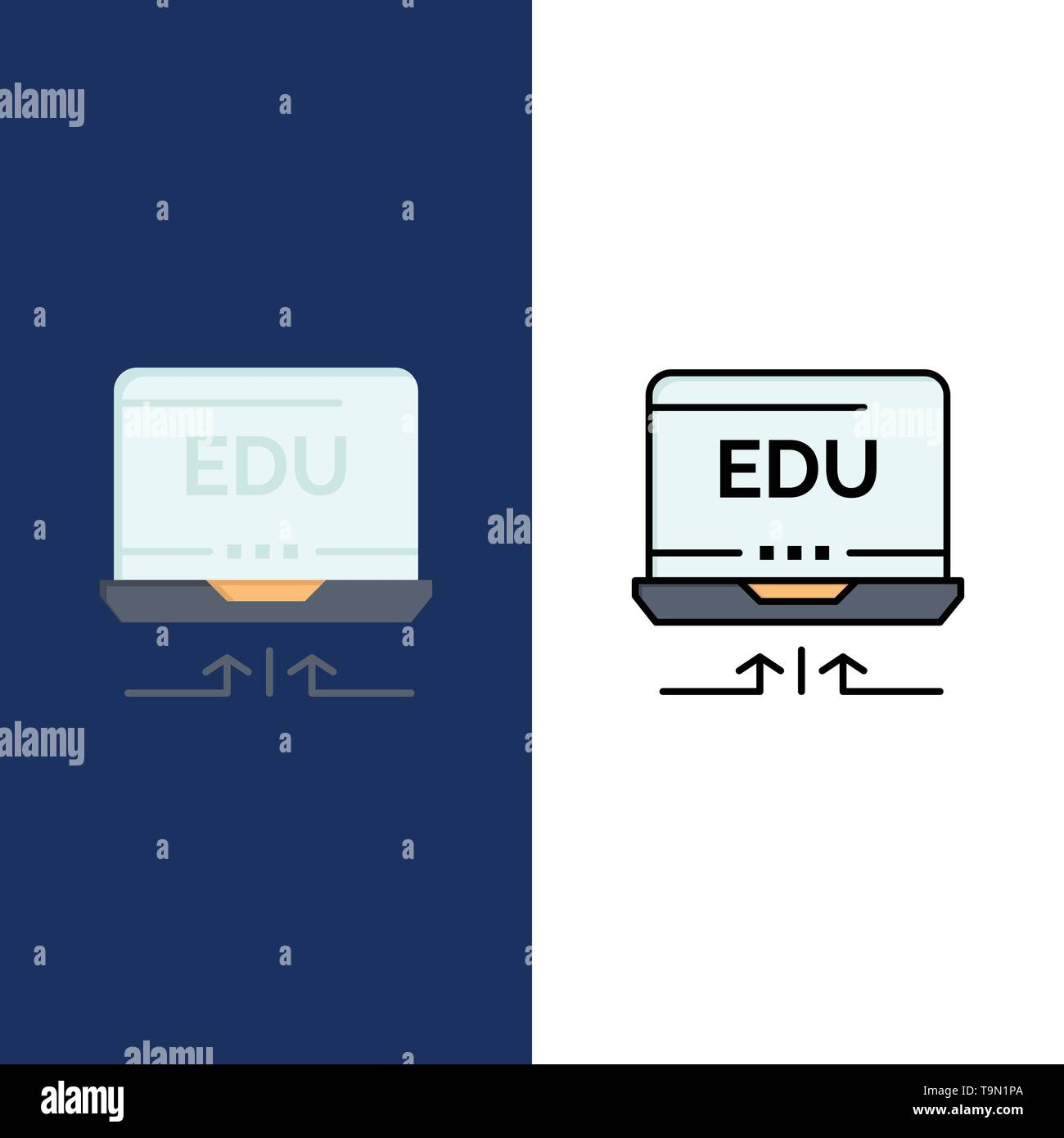 Laptop, Hardware, Arrow, Education  Icons. Flat and Line Filled Icon Set Vector Blue Background - Stock Image