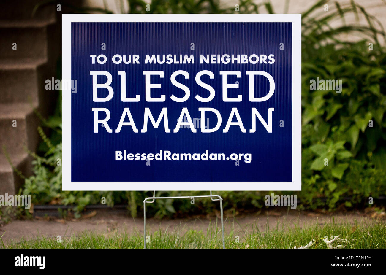 A yard sign stating To Our Muslim Neighbors - Blessed Ramadan - in St. Paul, Minnesota - Stock Image