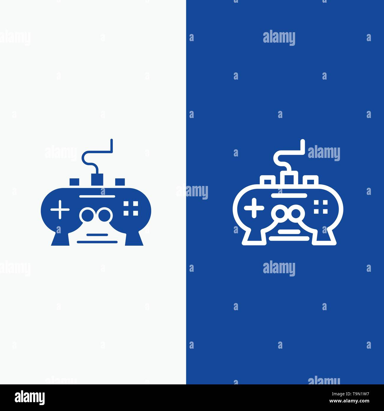 Game Pad Video Xbox Playstation Line And Glyph Solid Icon Blue Banner Stock Vector Image Art Alamy