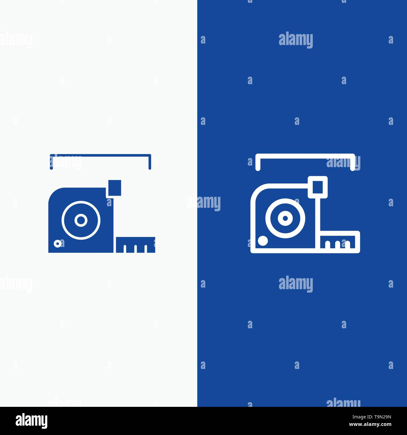 Measure, Measurement, Meter, Roulette, Ruler Line and Glyph Solid icon Blue banner Line and Glyph Solid icon Blue banner - Stock Image