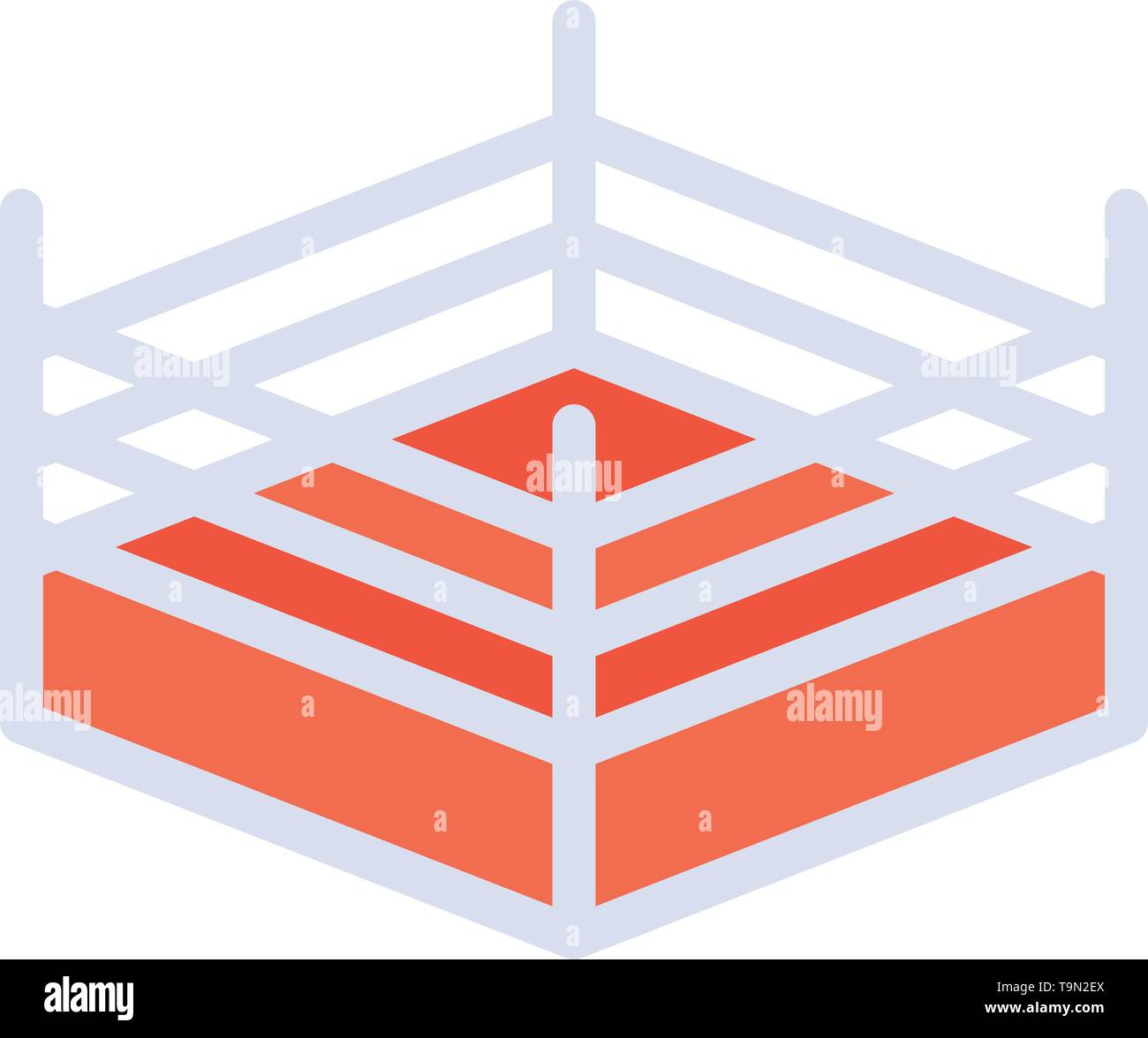 Boxing, Ring, Wrestling  Flat Color Icon. Vector icon banner Template Stock Vector