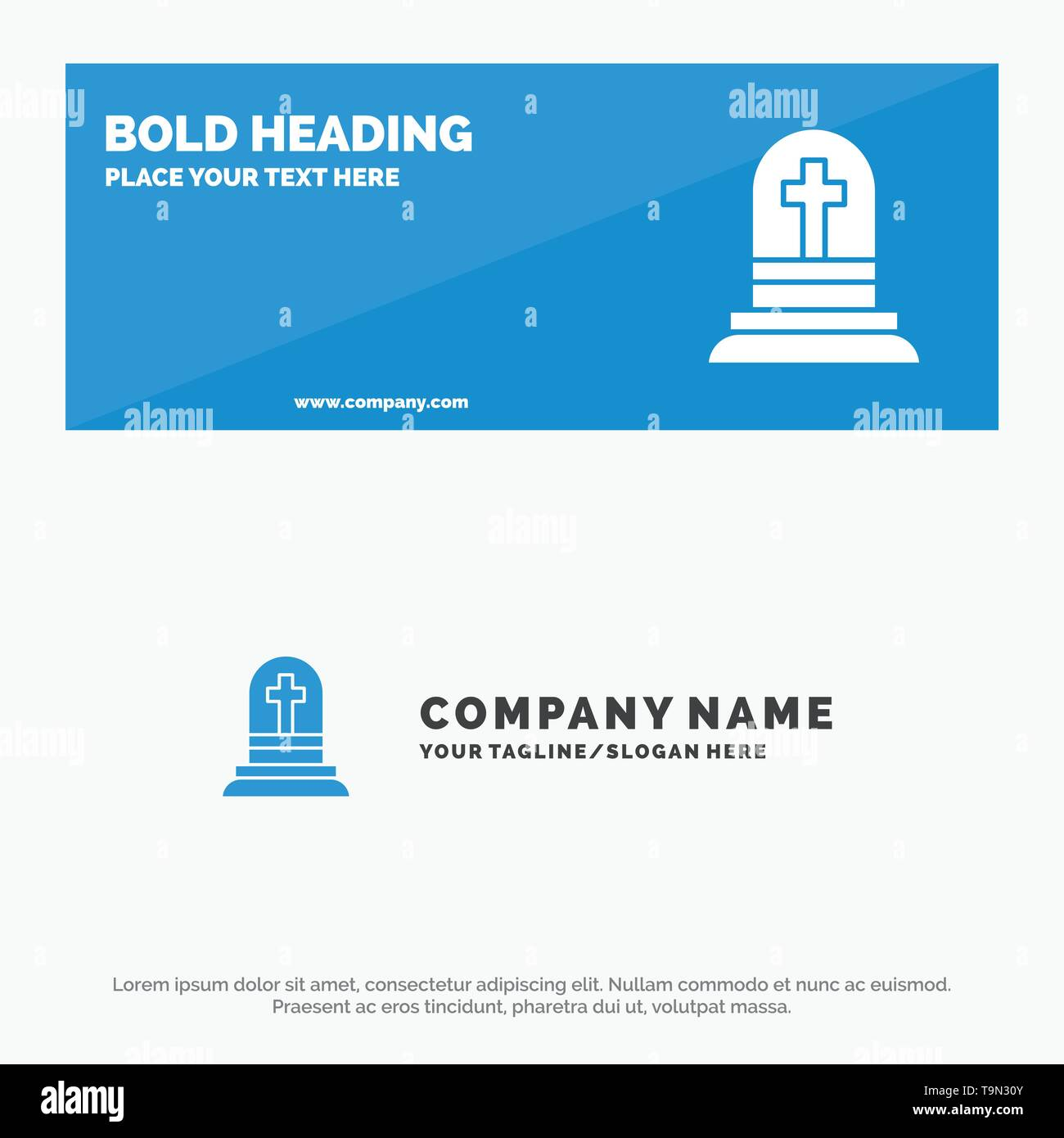 Death, Grave, Gravestone, Rip SOlid Icon Website Banner and Business Logo Template - Stock Image