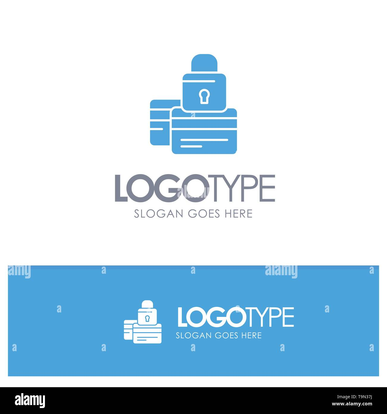 Banking, Card, Credit, Payment, Secure, Security Blue Solid Logo with place for tagline - Stock Image