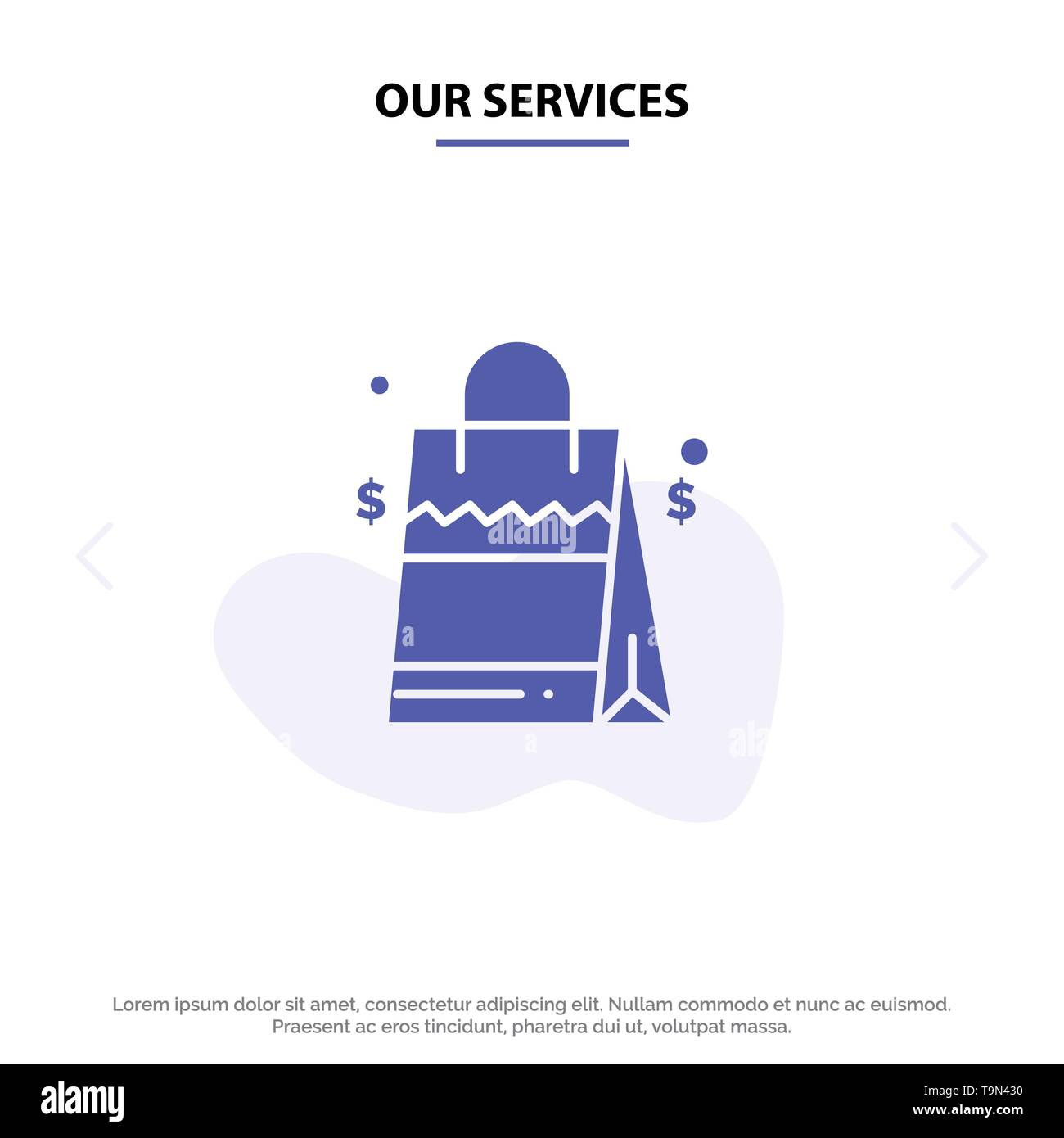 Our Services Bag, Handbag, Usa, American Solid Glyph Icon Web card Template - Stock Vector