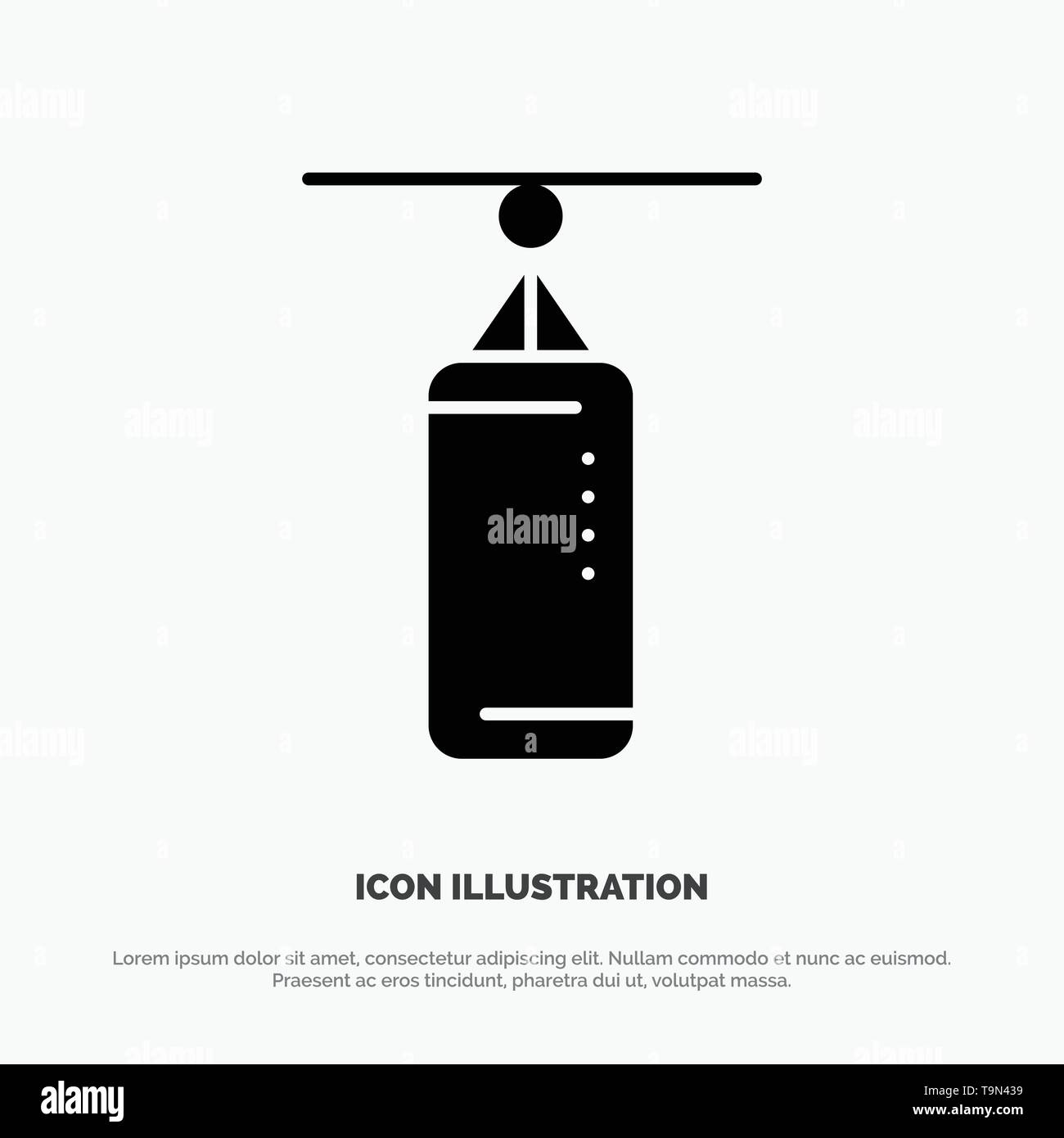 Bag, Boxing, Punch bag, Punching solid Glyph Icon vector - Stock Image