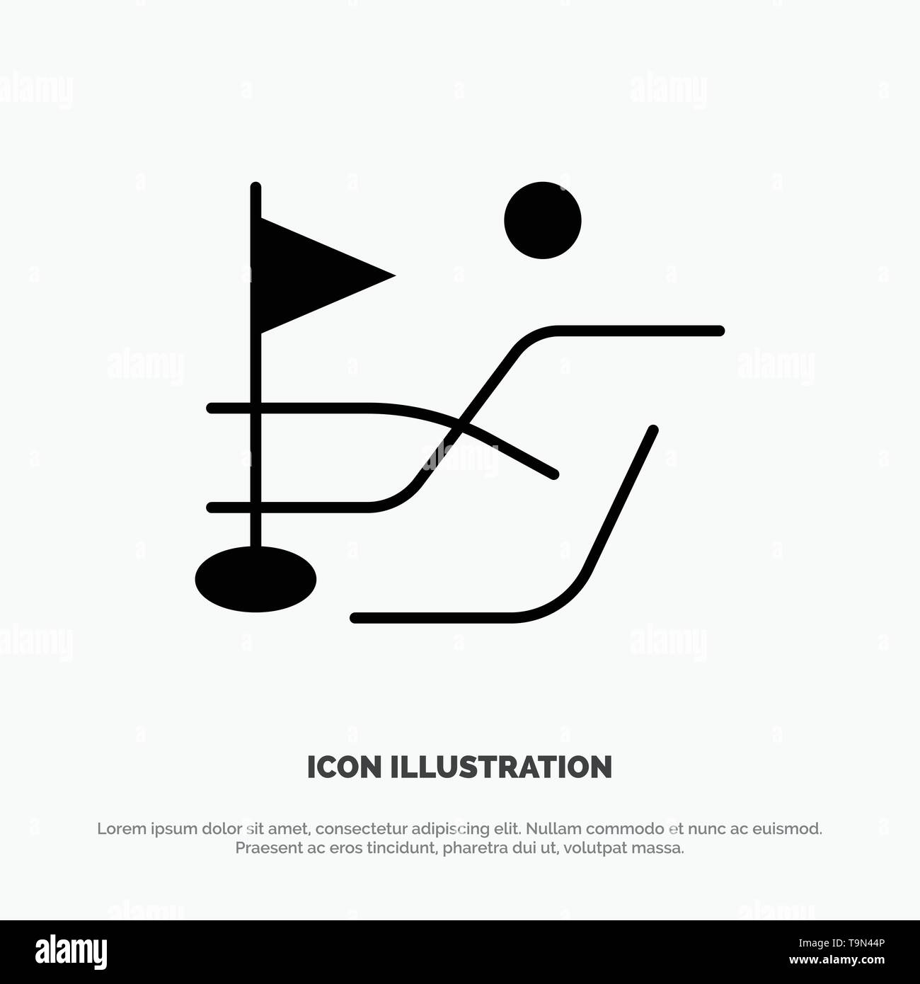 Ball, Field, Golf Sport solid Glyph Icon vector - Stock Image