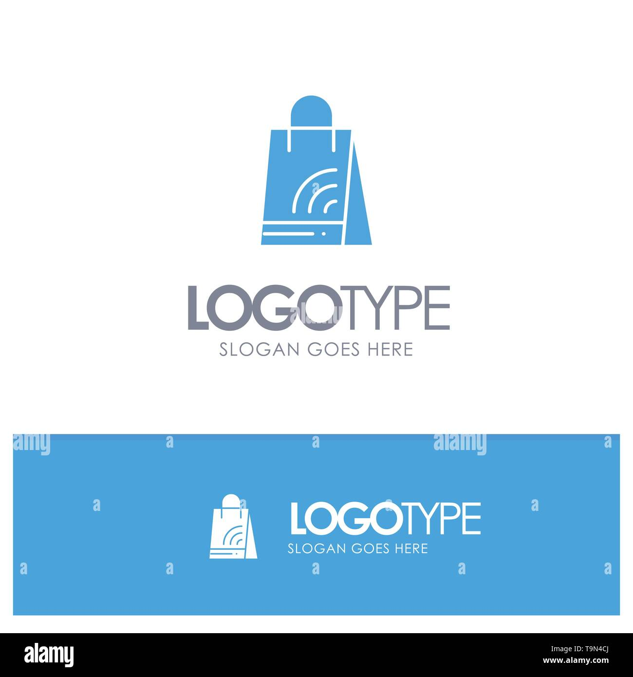 Bag, Handbag, Wifi, Shopping Blue Solid Logo with place for tagline - Stock Image