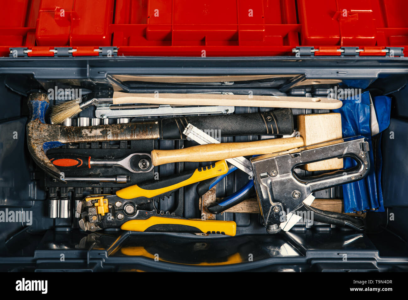 Set of working tools in tool box, top view. Do It Yourself. - Stock Image