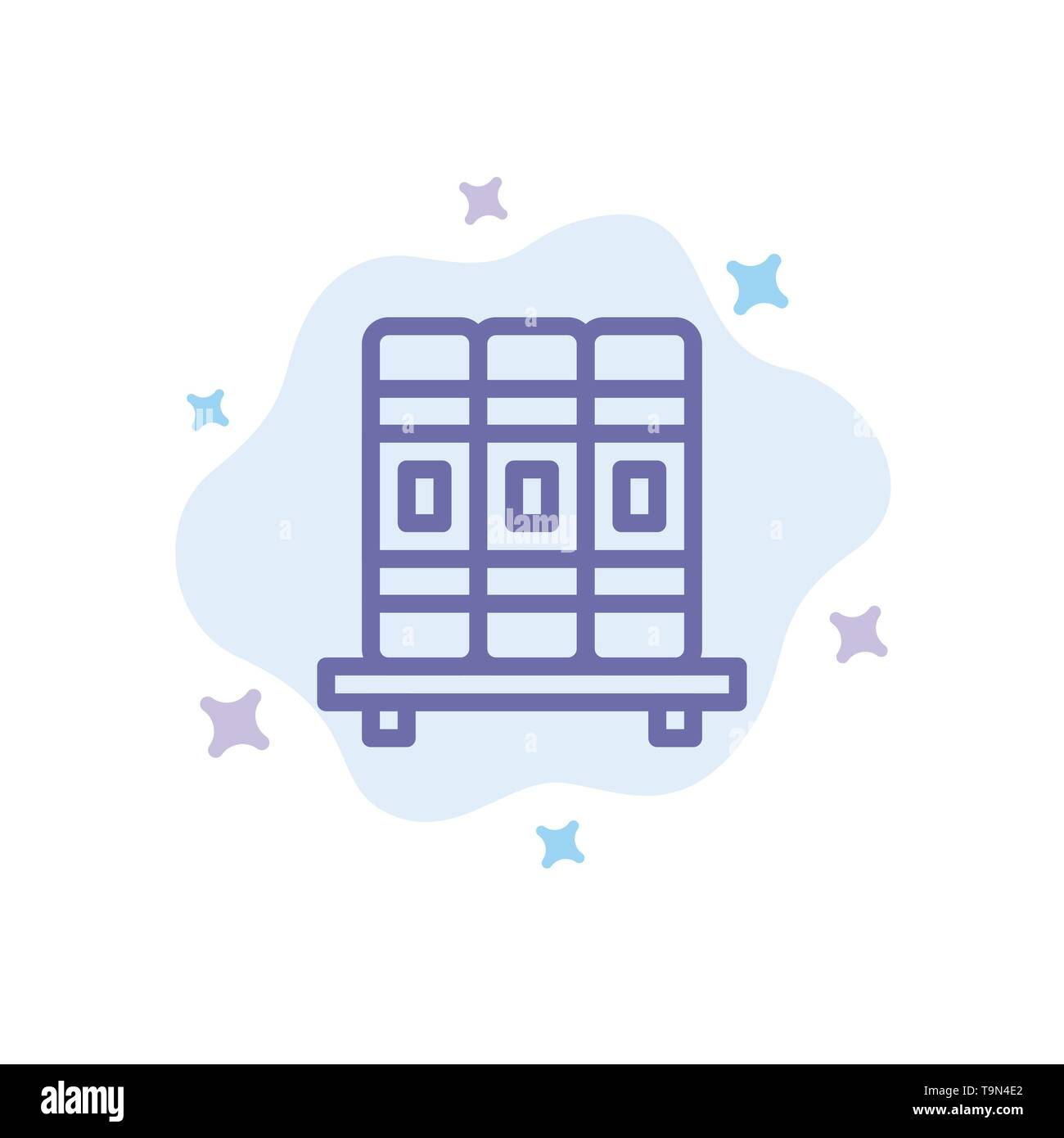 Cupboard, Education, Studies Blue Icon on Abstract Cloud Background - Stock Image