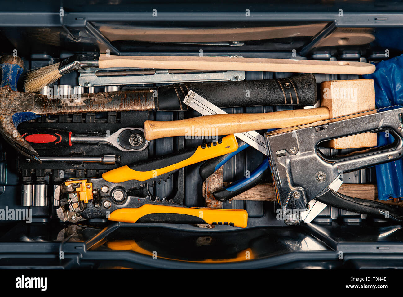 Set of working tools in tool box, top view. DIY theme - Stock Image