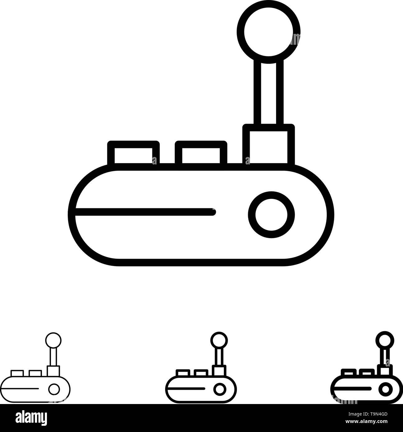 Controller, Joy Pad, Joy Stick, Joy pad Bold and thin black line icon set - Stock Image