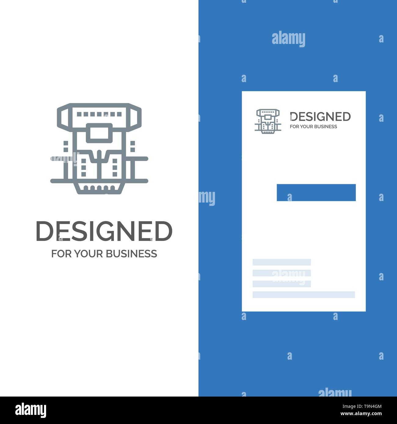 Box, Chamber, Cryogenic, Cryonics, Cryotherapy Grey Logo Design and Business Card Template - Stock Image