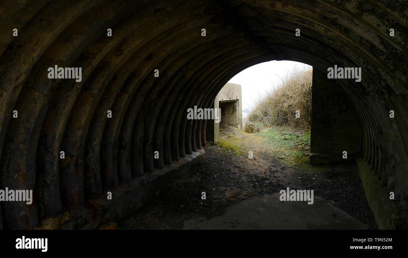 German tunnel, remains of the WWII fortifications, Cap d'Alprech, Le Portel, Pas-de-Calais, Hauts-de-France, France - Stock Image
