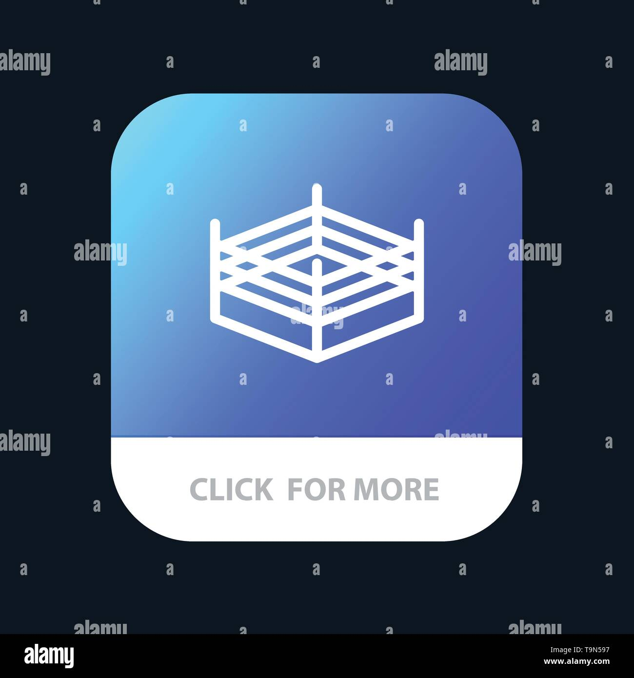 Boxing, Ring, Wrestling Mobile App Button. Android and IOS Line Version Stock Vector