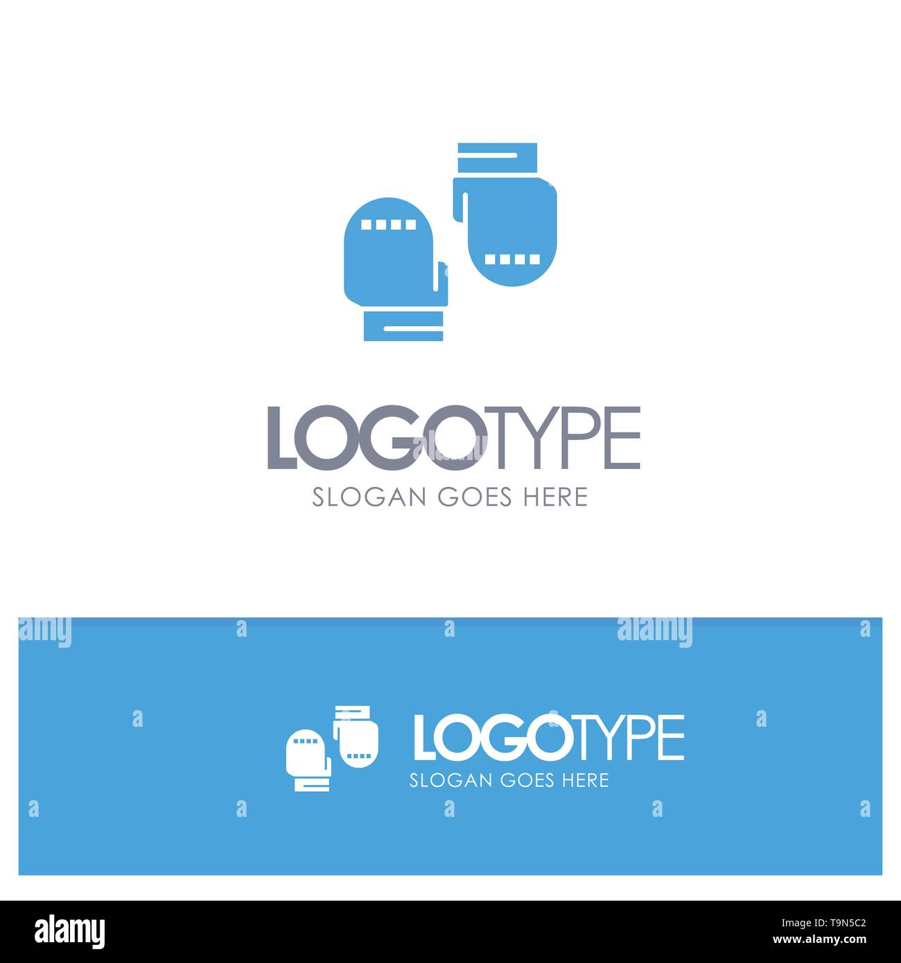 Boxing, Glove, Gloves, Protective Blue Solid Logo with place for tagline - Stock Image