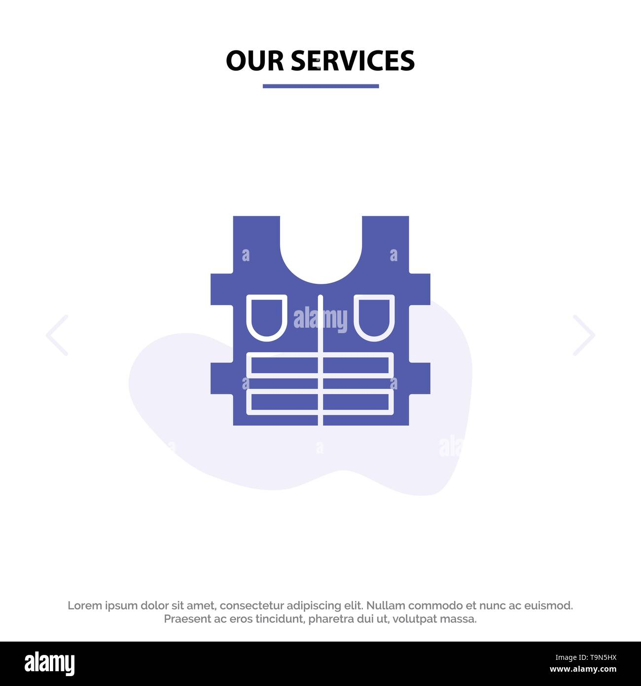 Our Services Jacket, Life, Safety Solid Glyph Icon Web card Template - Stock Image