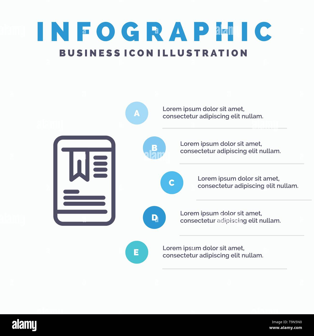 Mobile, Tag, OnEducation Line icon with 5 steps presentation infographics Background - Stock Image