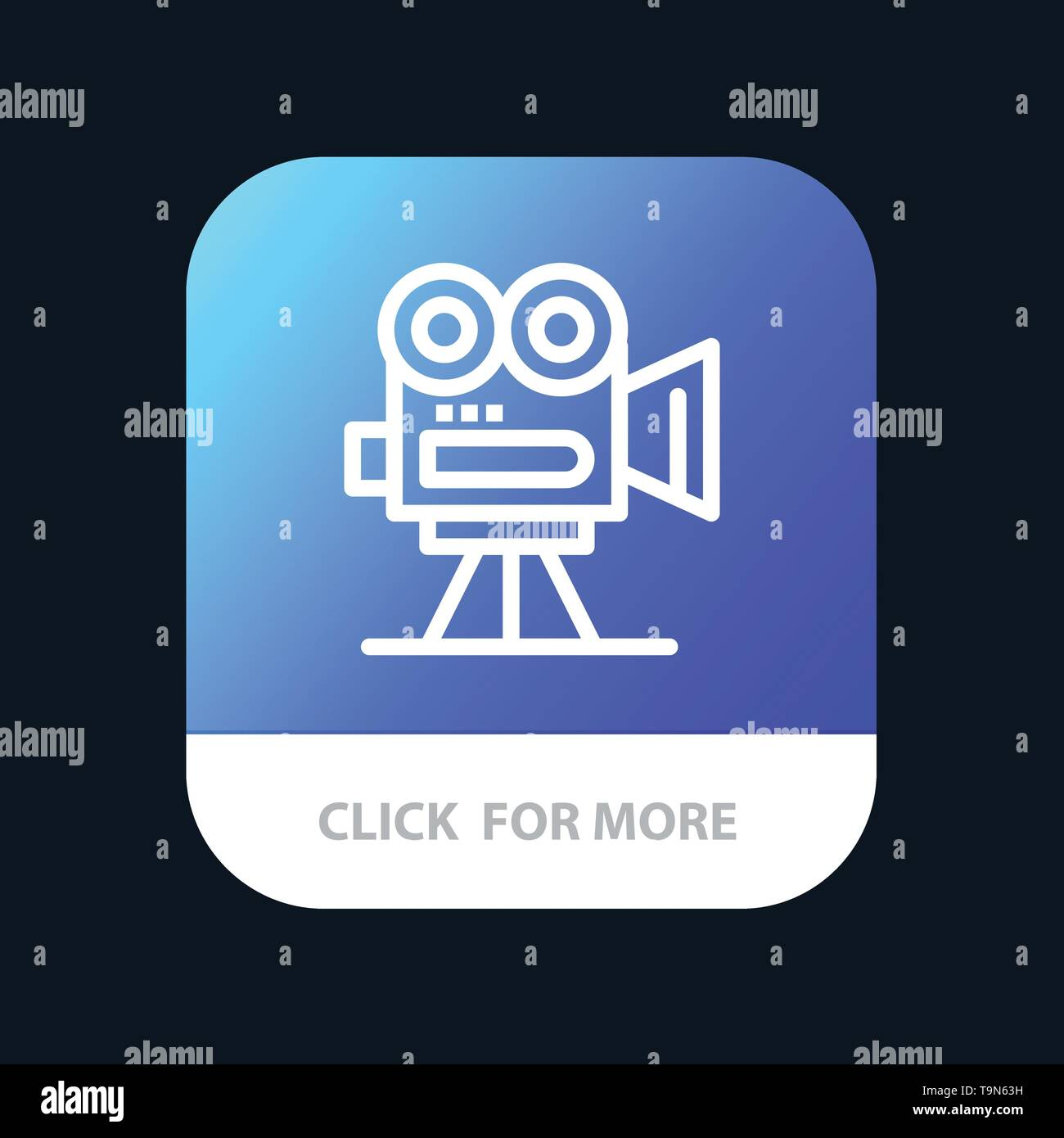 Camera, Capture, Film, Movie, Professional Mobile App Button. Android and IOS Line Version - Stock Vector