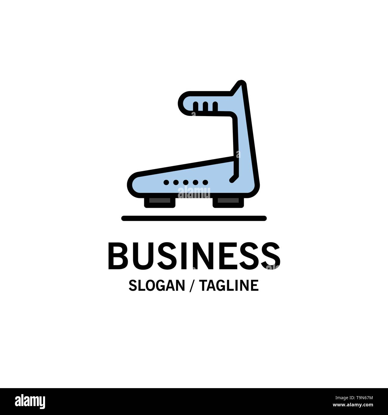 Machine, Running, Track, Treadmill Business Logo Template. Flat Color - Stock Image