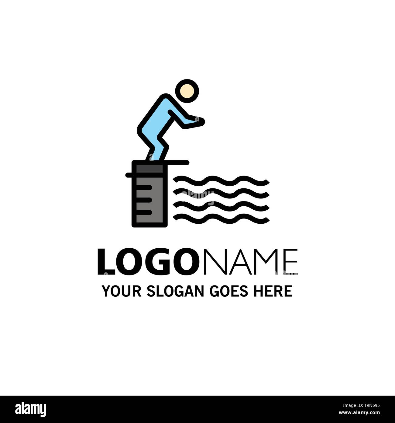 Diving, Jump, Platform, Pool, Sport Business Logo Template. Flat Color - Stock Image