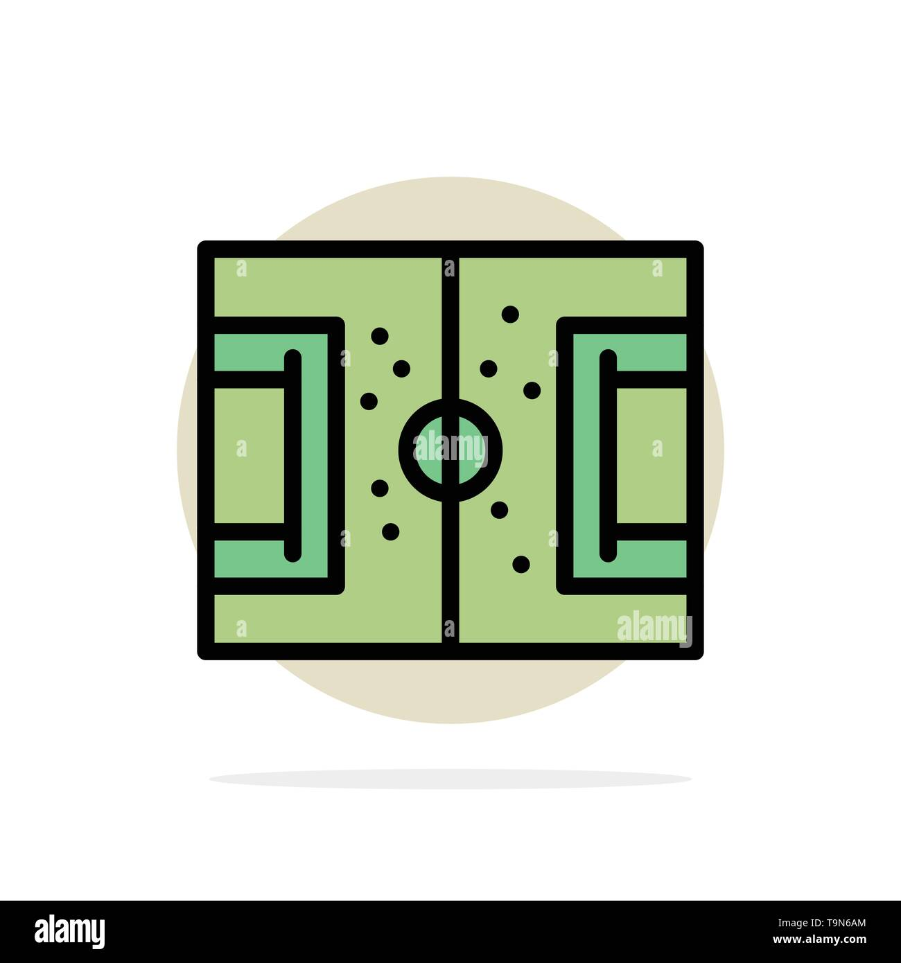 Field, Football, Game, Pitch, Soccer Abstract Circle Background Flat color Icon - Stock Image