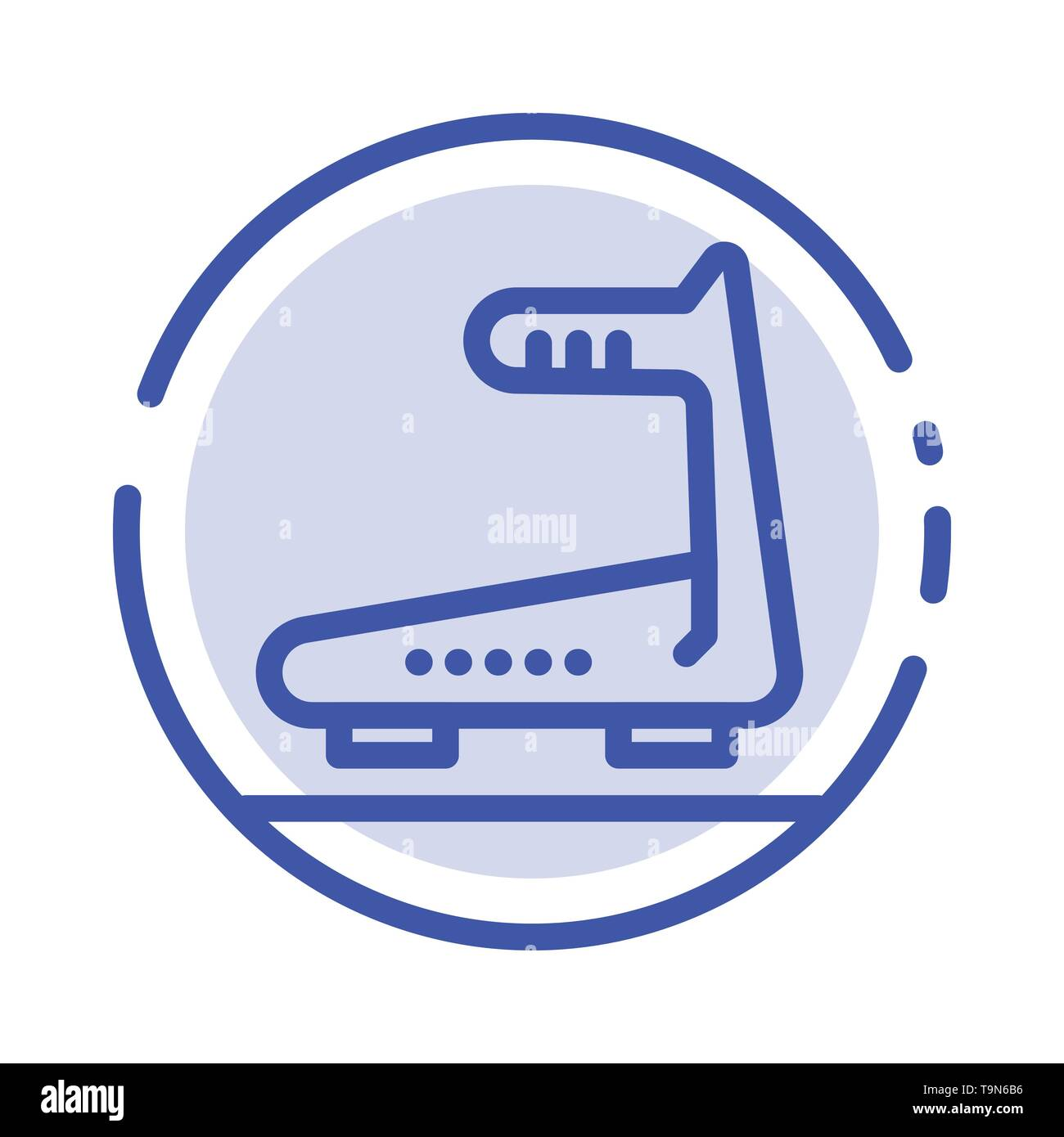 Machine, Running, Track, Treadmill Blue Dotted Line Line Icon - Stock Image