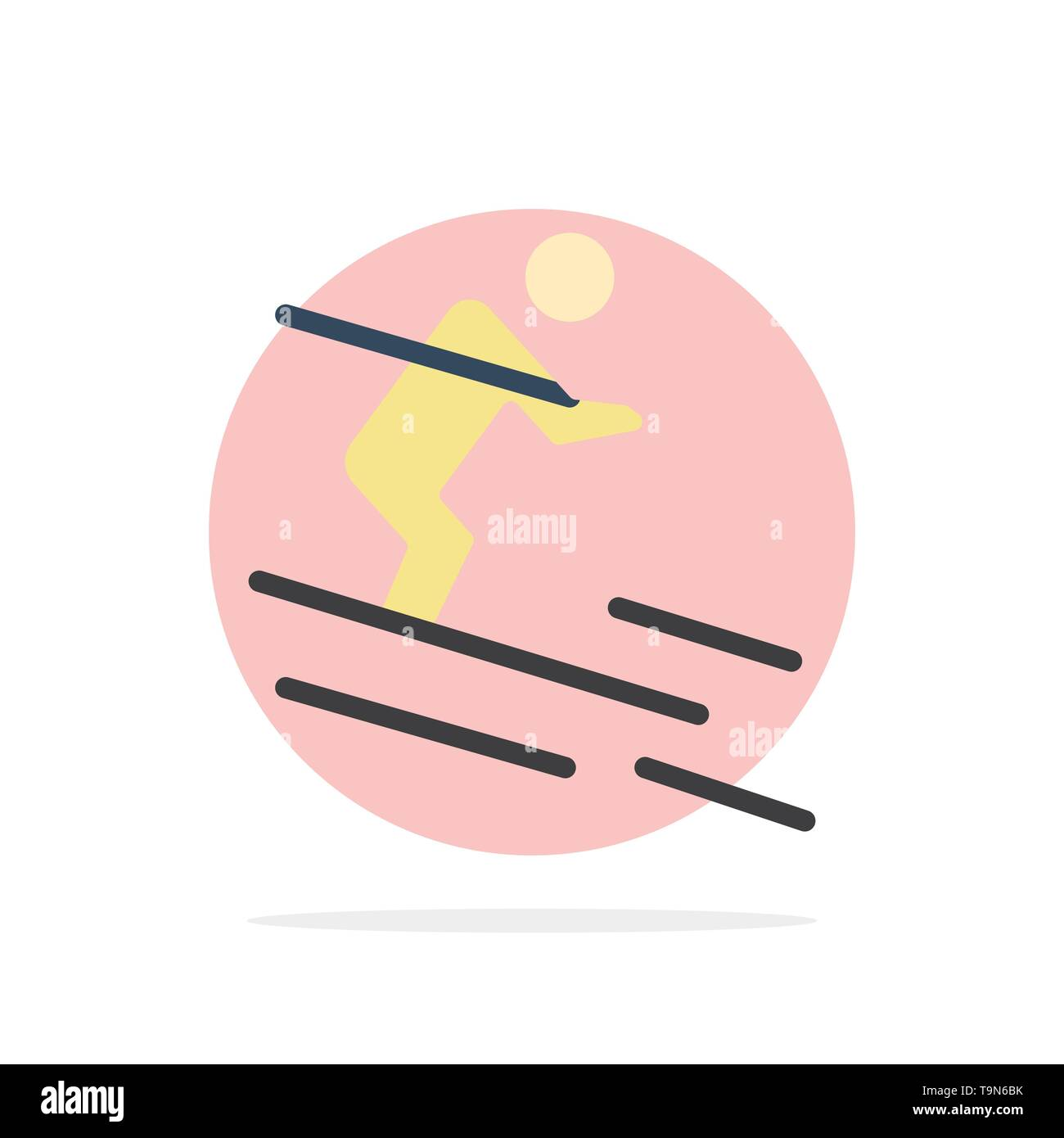 Activity, Ski, Skiing, Sportsman Abstract Circle Background Flat color Icon - Stock Image