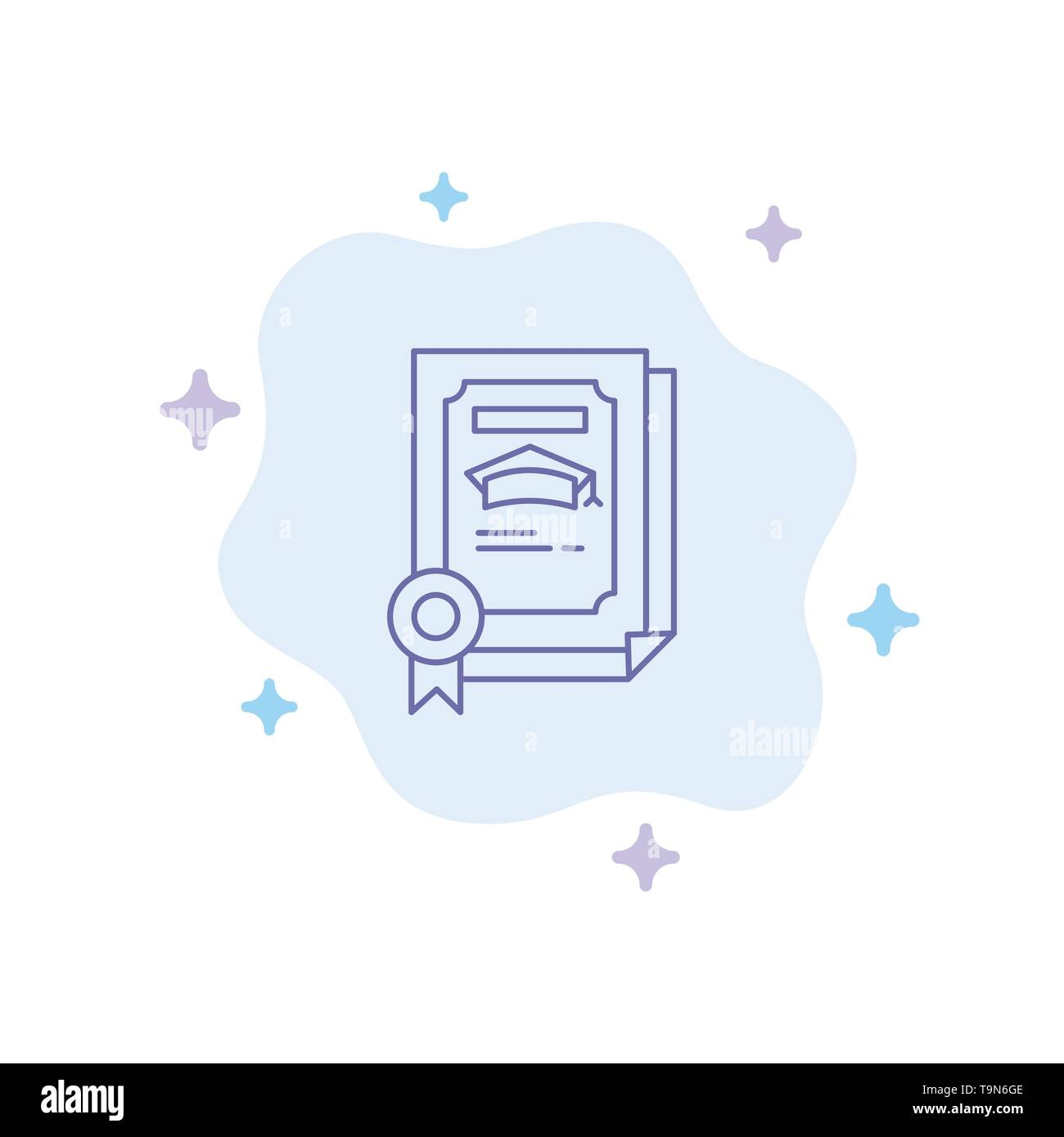 Degree, Achievement, Certificate, Graduate Blue Icon on Abstract Cloud Background - Stock Image
