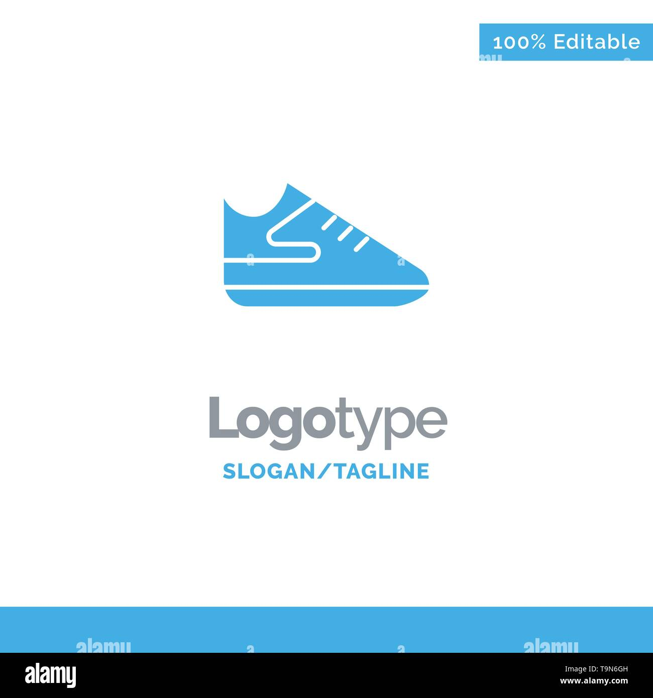 Exercise, Shoes, Sports Blue Solid Logo Template. Place for Tagline - Stock Image