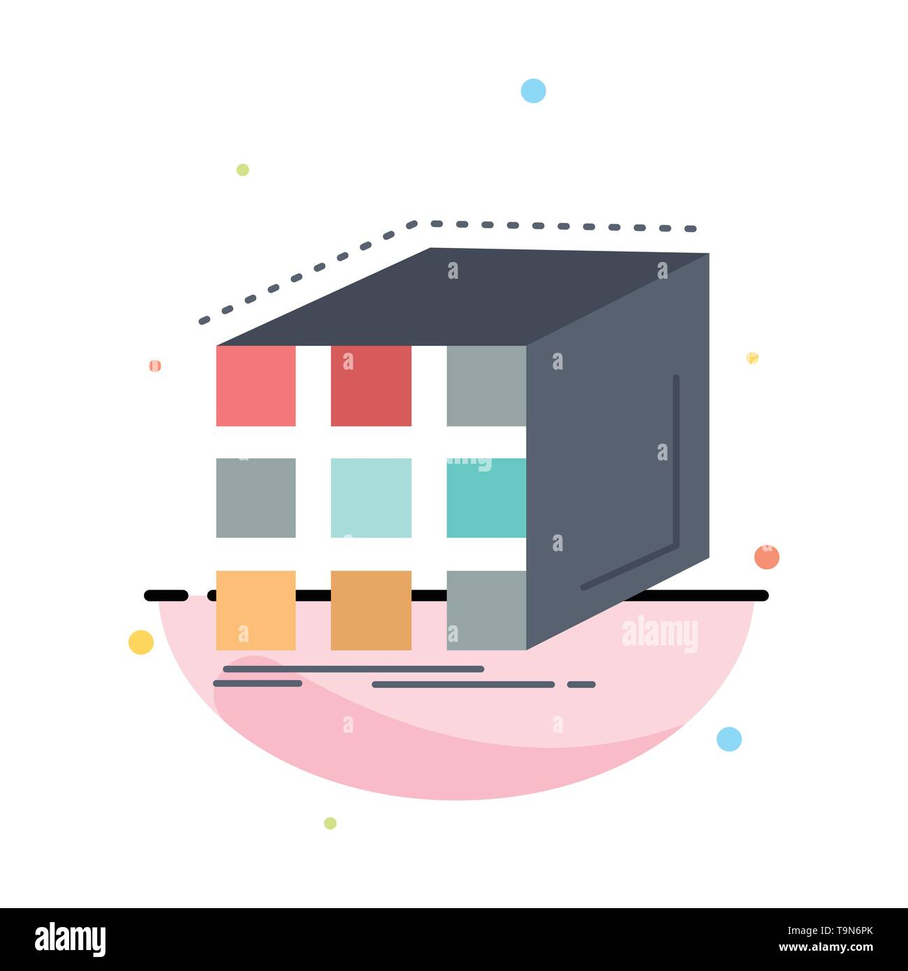 abstract, aggregation, cube, dimensional, matrix flat color icon vector