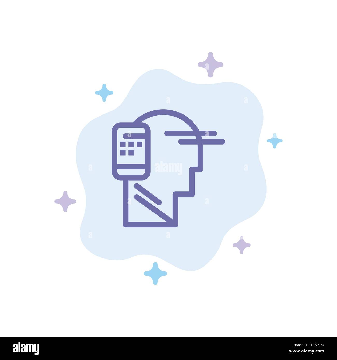 Communication, Connected, Human, Mobile, Mobility Blue Icon on Abstract Cloud Background - Stock Image