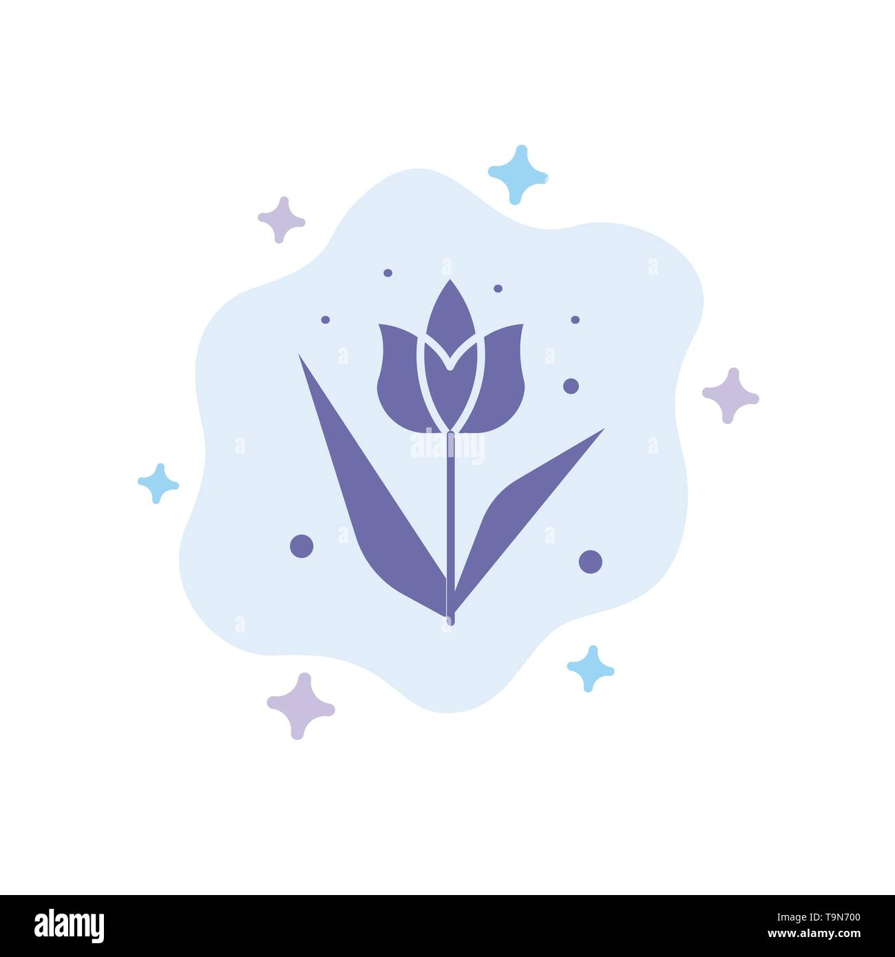 Decoration, Easter, Flower, Plant Blue Icon on Abstract Cloud Background - Stock Image