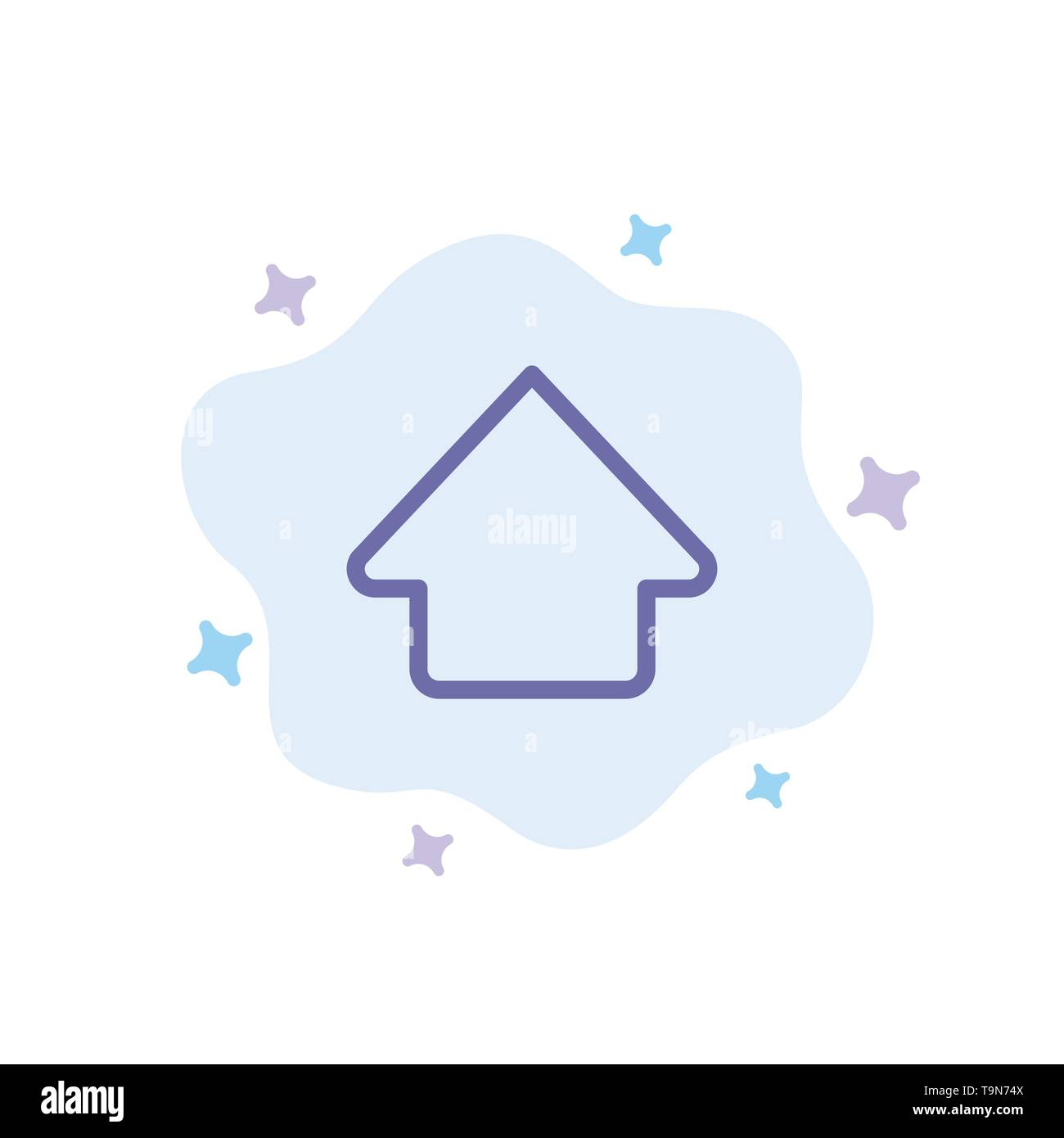 Arrow, Up, Upload Blue Icon on Abstract Cloud Background - Stock Image