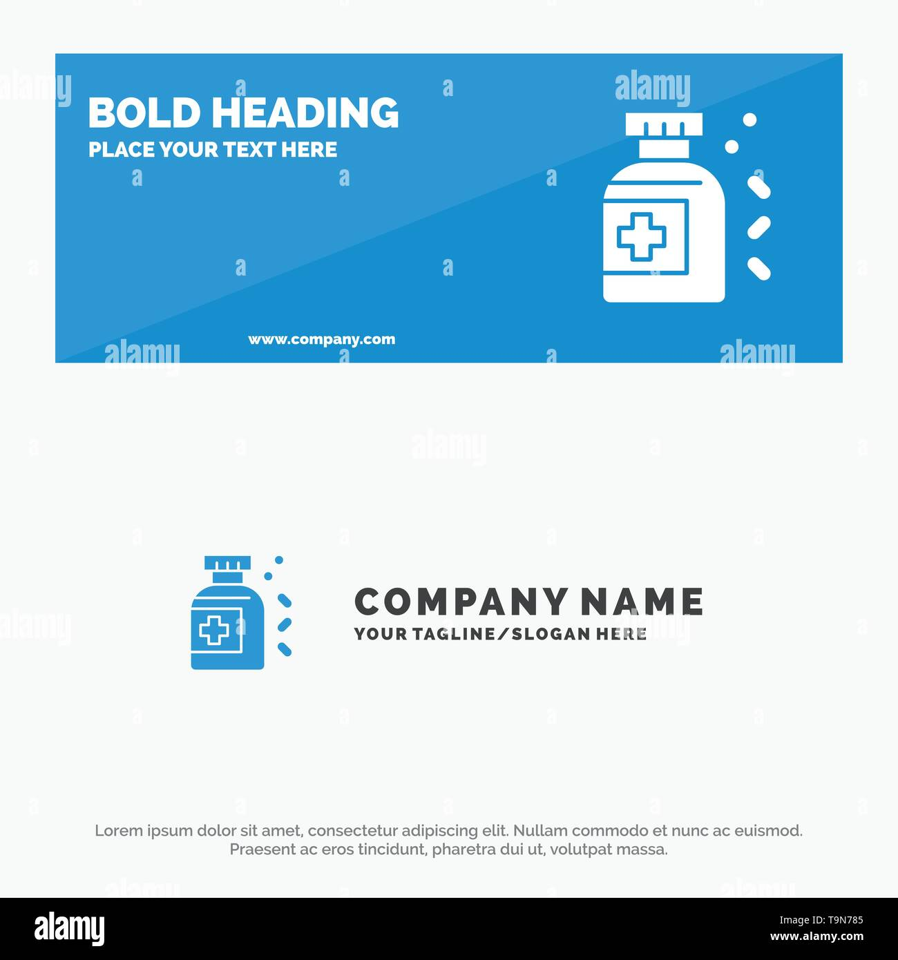 Bottle, Medicine, Tablet SOlid Icon Website Banner and Business Logo Template - Stock Image