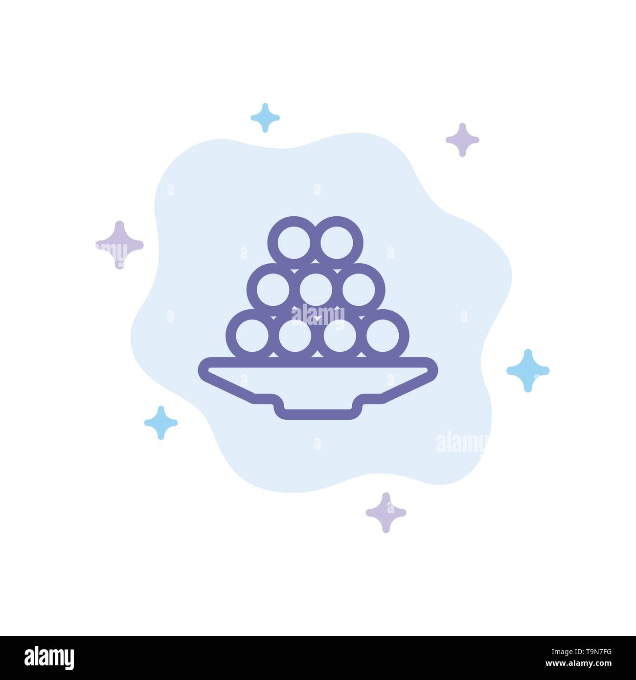 Bowl, Delicacy, Dessert, Indian, Laddu, Sweet, Treat Blue Icon on Abstract Cloud Background - Stock Image