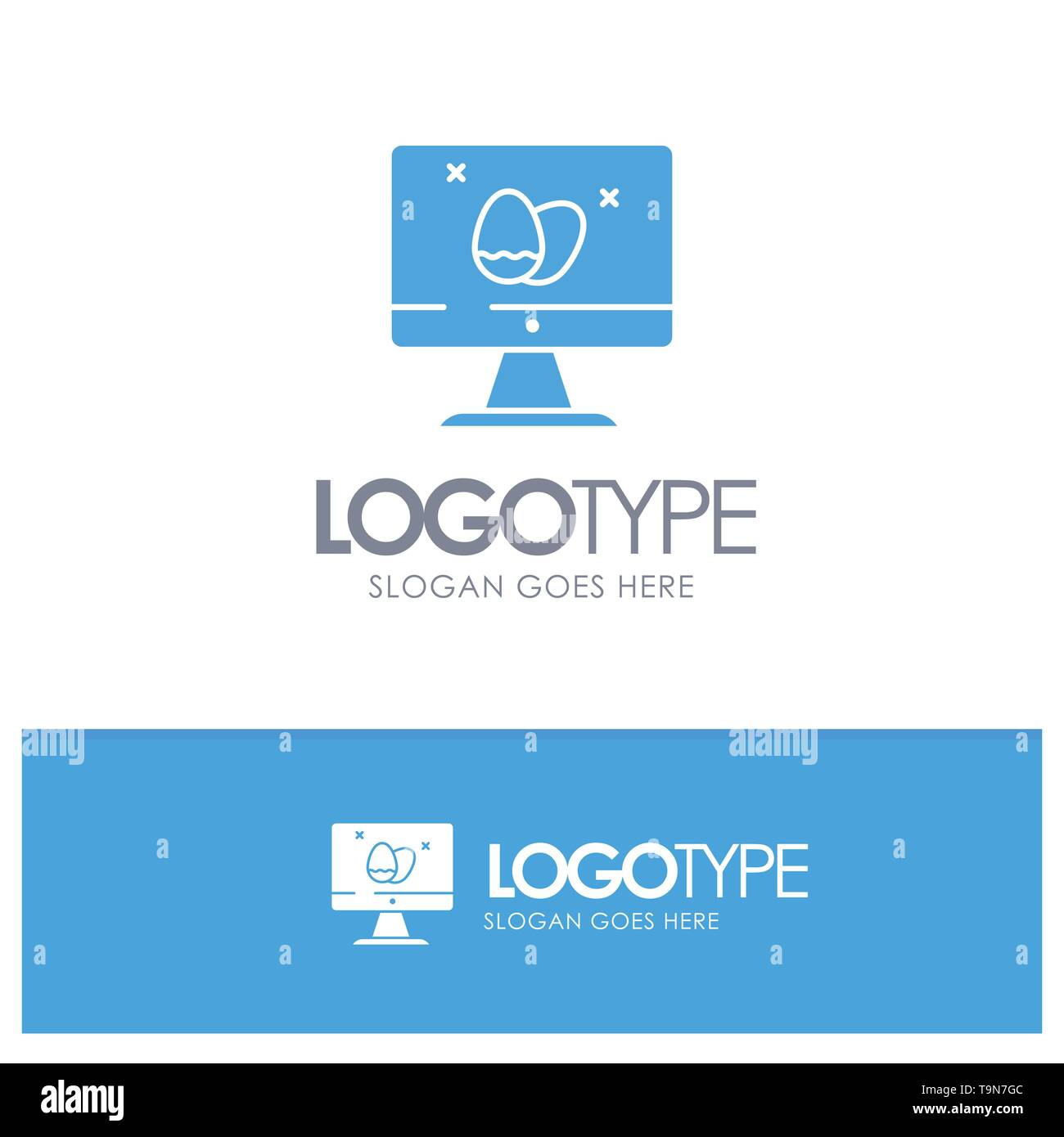 Monitor, Screen, Egg, Easter Blue Solid Logo with place for tagline - Stock Image