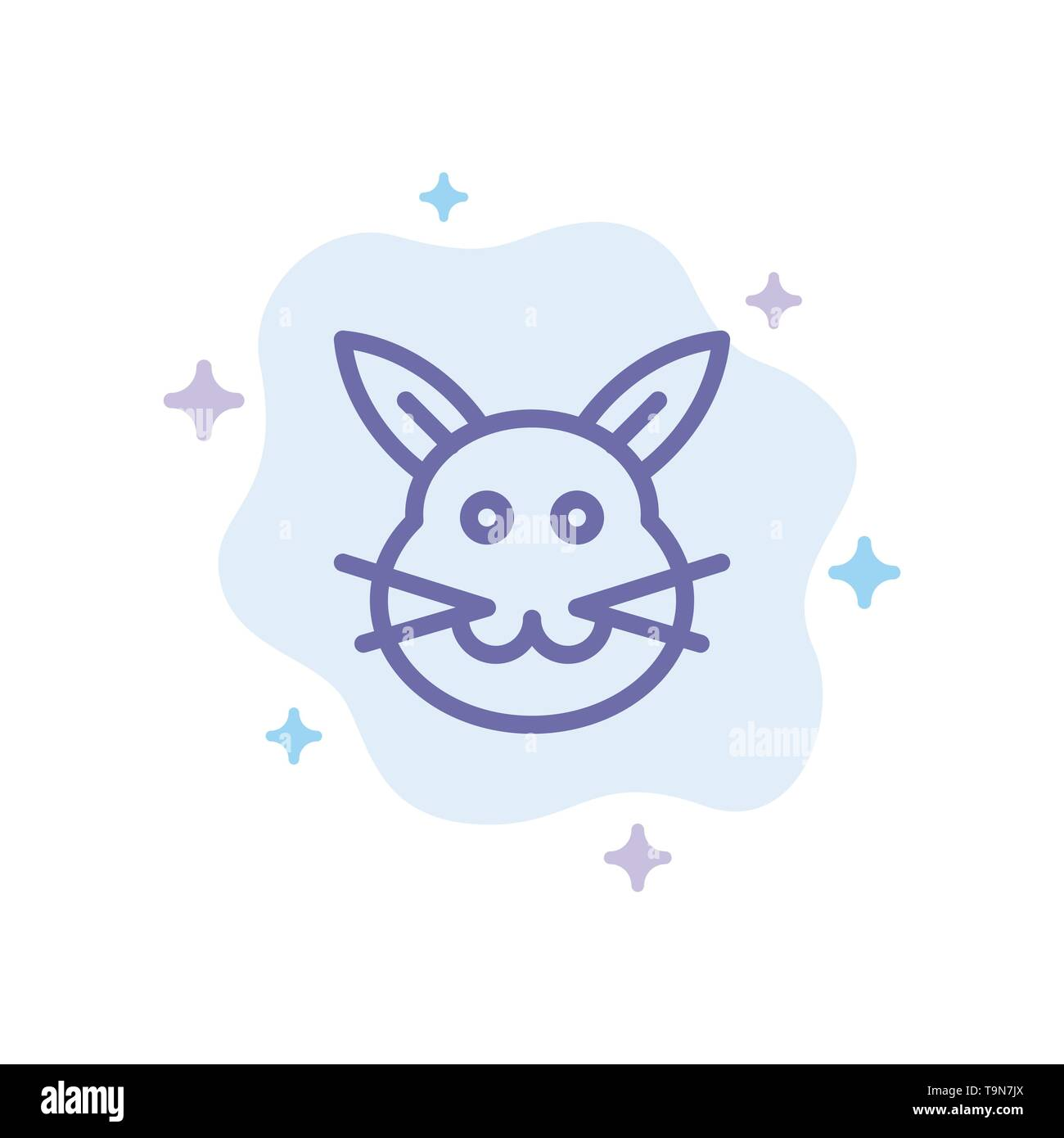 Bunny, Bunny, Easter, Rabbit Blue Icon on Abstract Cloud Background - Stock Image