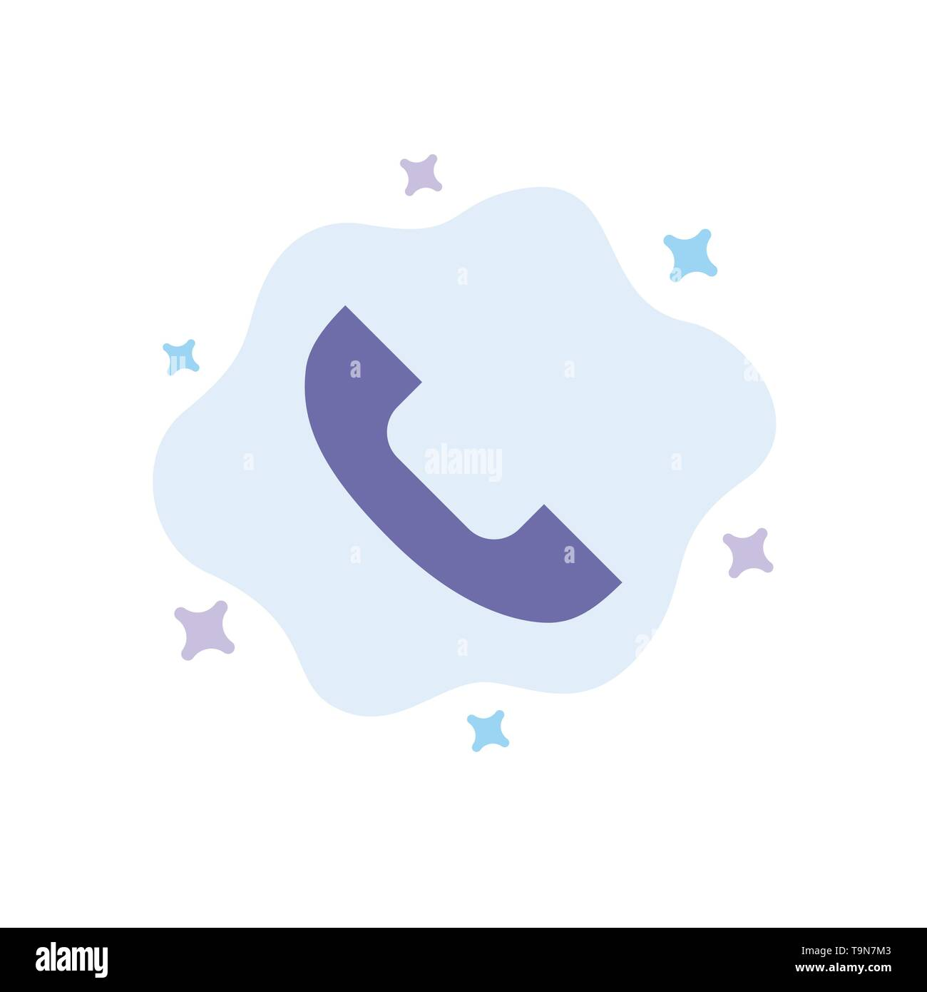 Call, Phone, Telephone, Mobile Blue Icon on Abstract Cloud Background - Stock Image