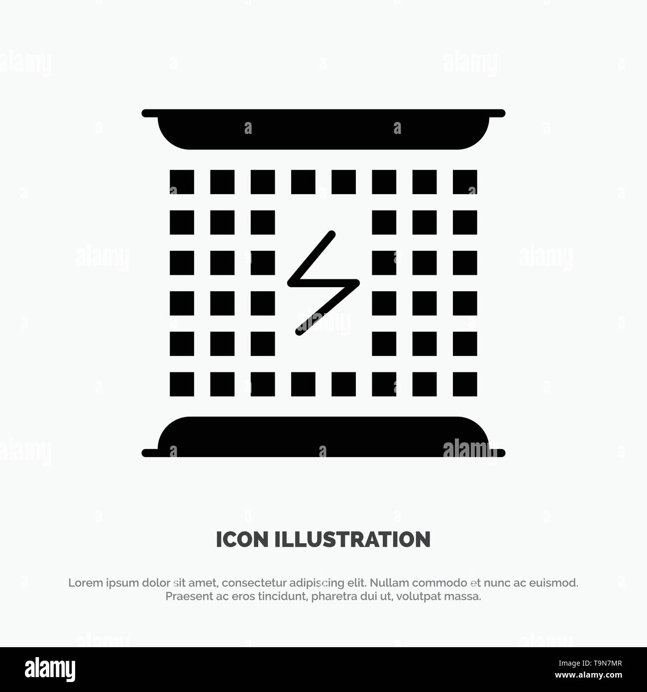 Charge, Charging, Electricity, Electromagnetic, Energy solid Glyph Icon vector - Stock Image