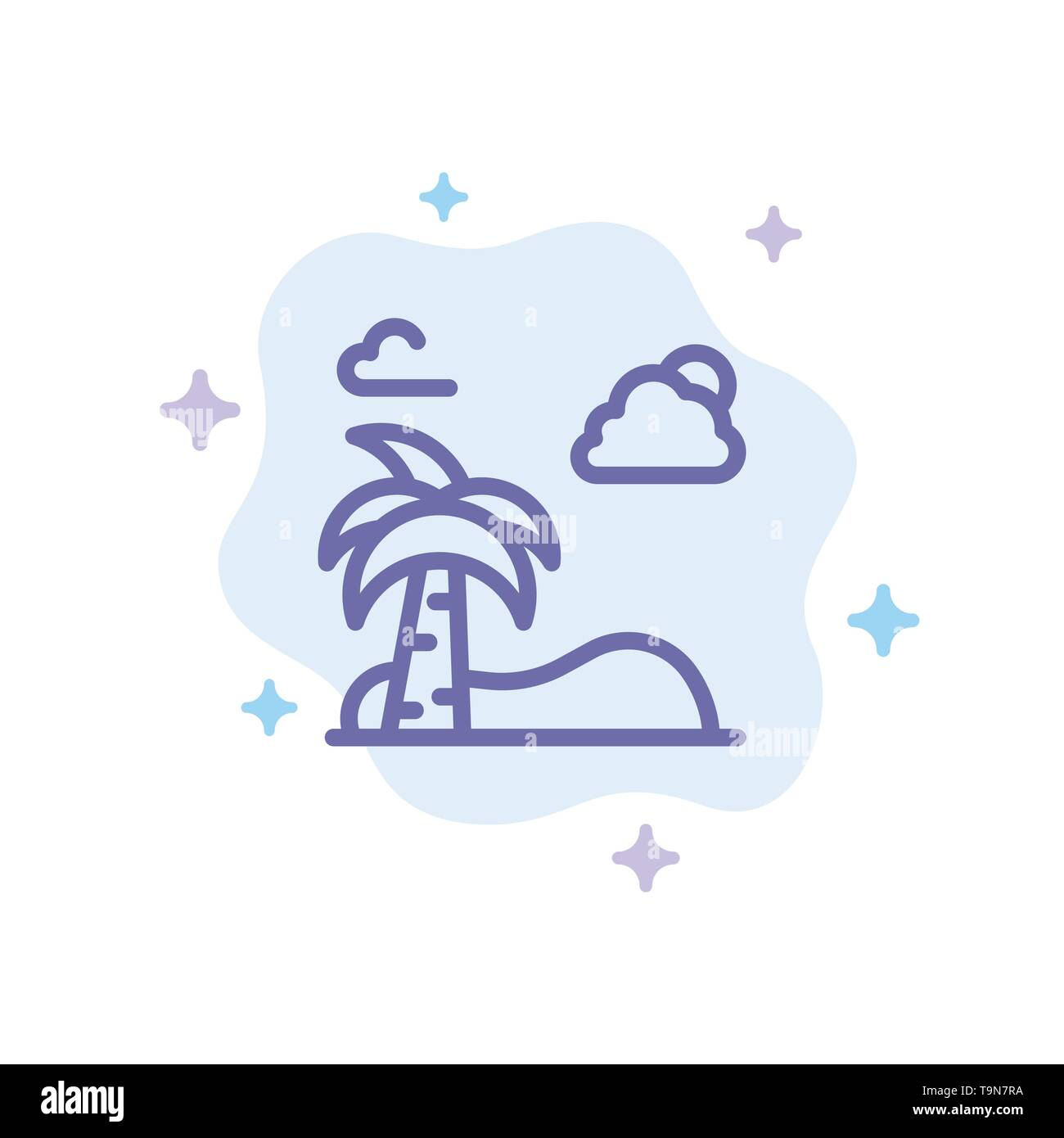 Beach, Palm, Tree, Spring Blue Icon on Abstract Cloud Background - Stock Image