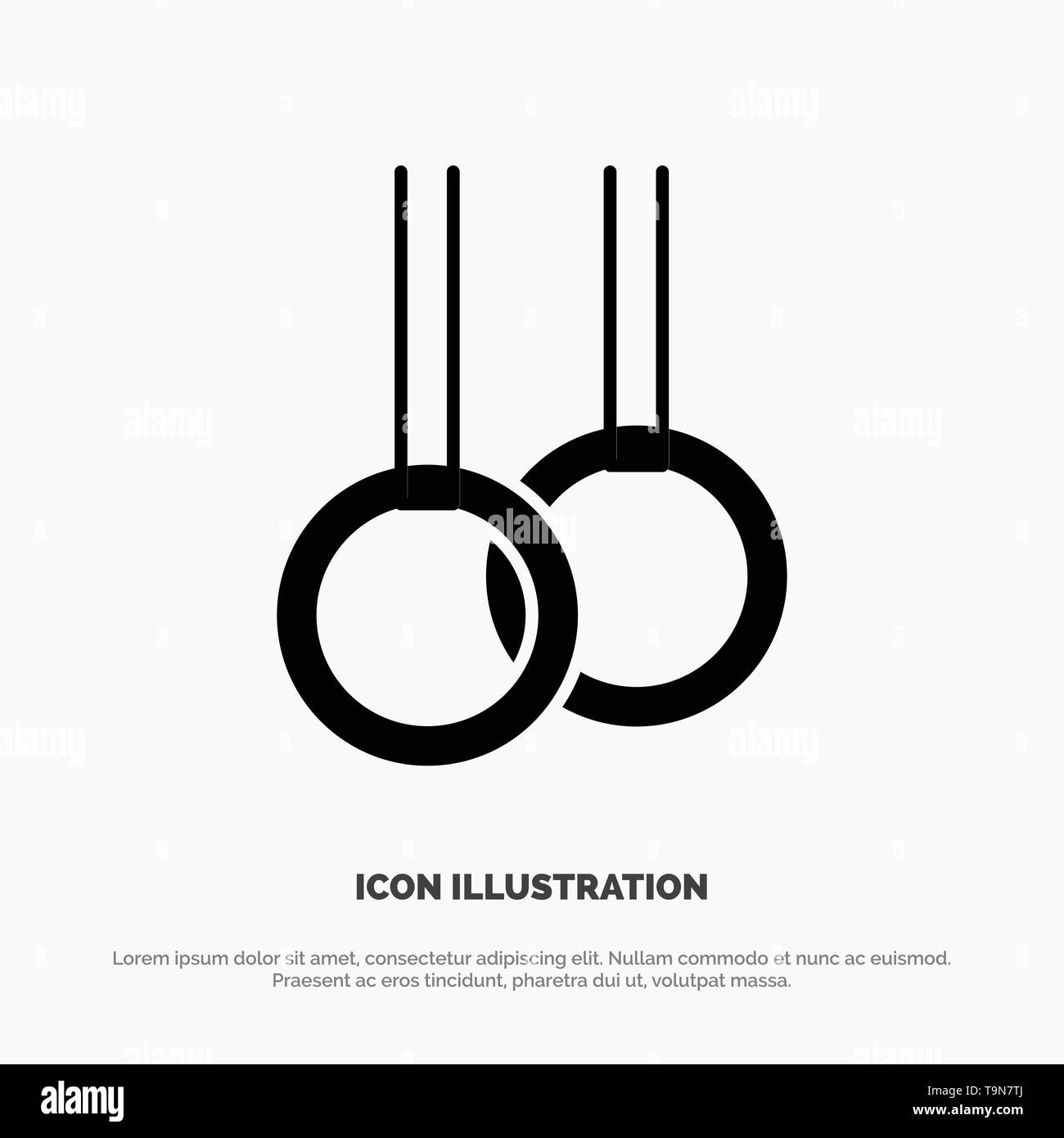 Athletic, Gymnastics, Rings solid Glyph Icon vector - Stock Image