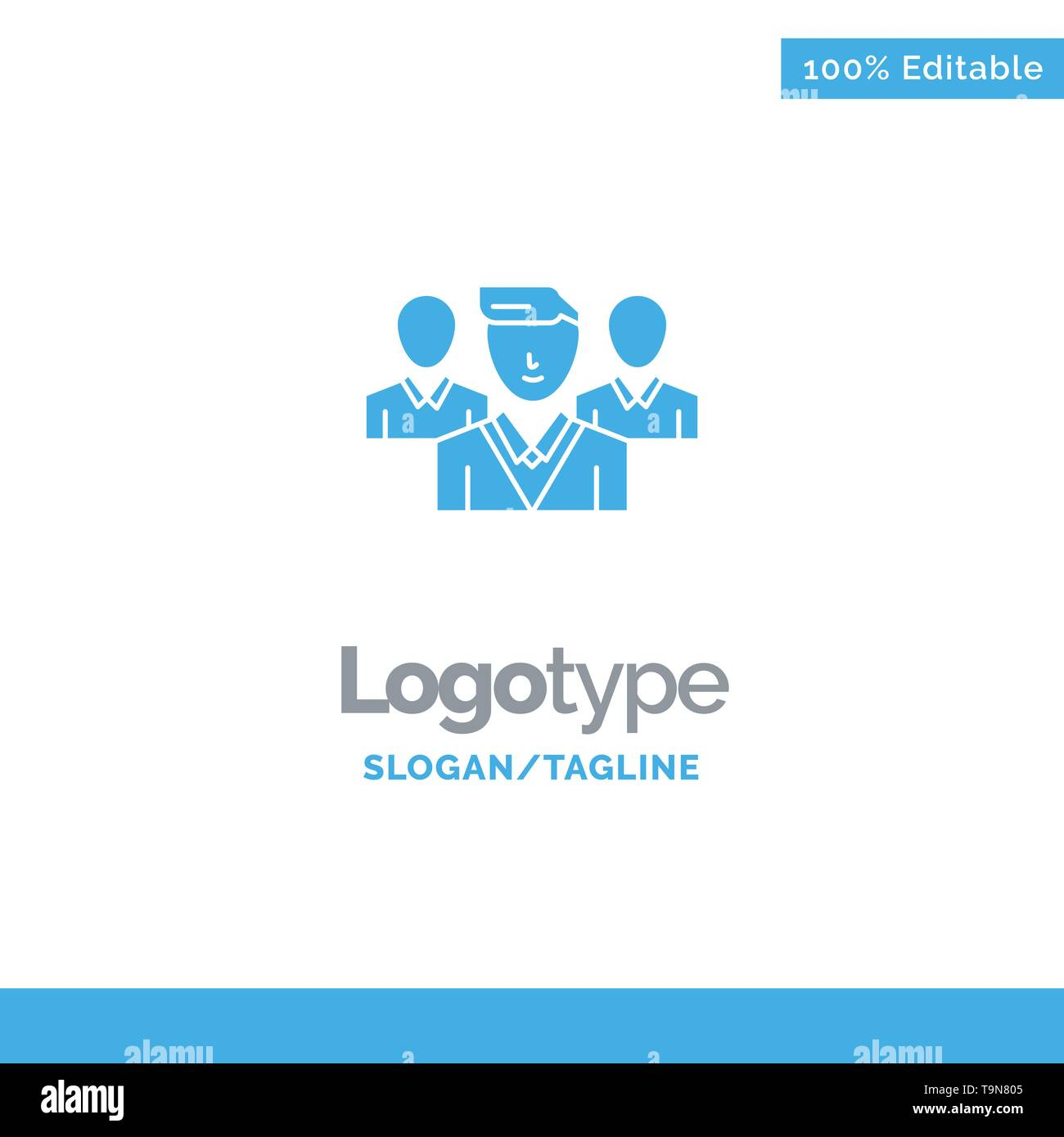 Staff, Security, Friend zone, Gang Blue Solid Logo Template. Place for Tagline - Stock Image