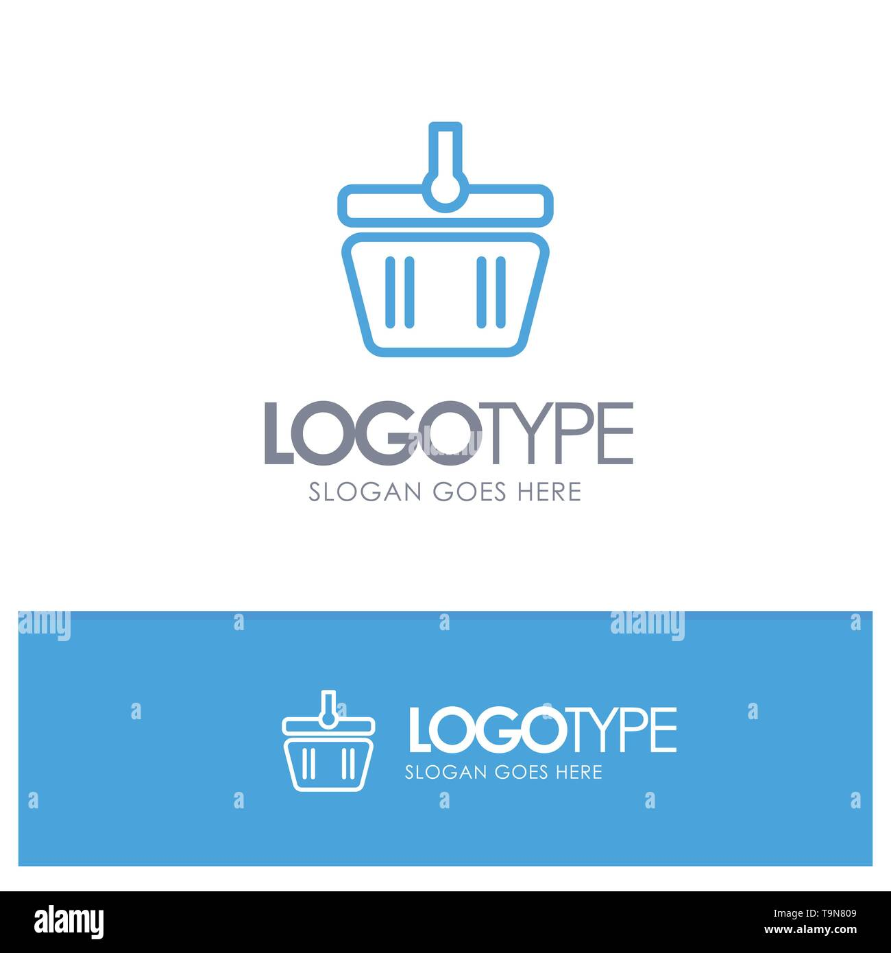 Basket, Cart, Shopping, Spring Blue outLine Logo with place for tagline - Stock Image