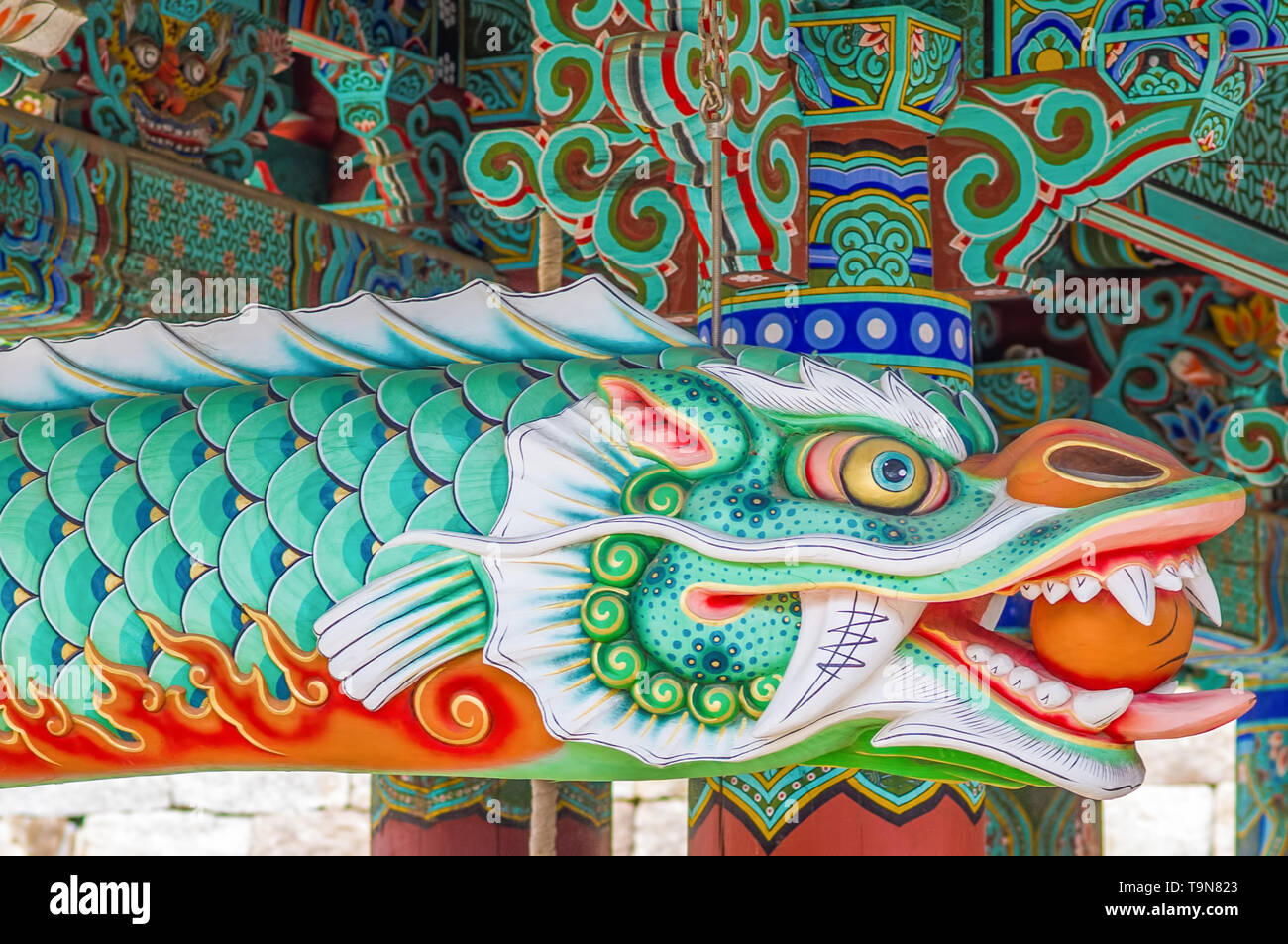 Beautiful dragon creature with vivid colors - Haeinsa Temple UNESCO World Heritage List - South Korea - Stock Image