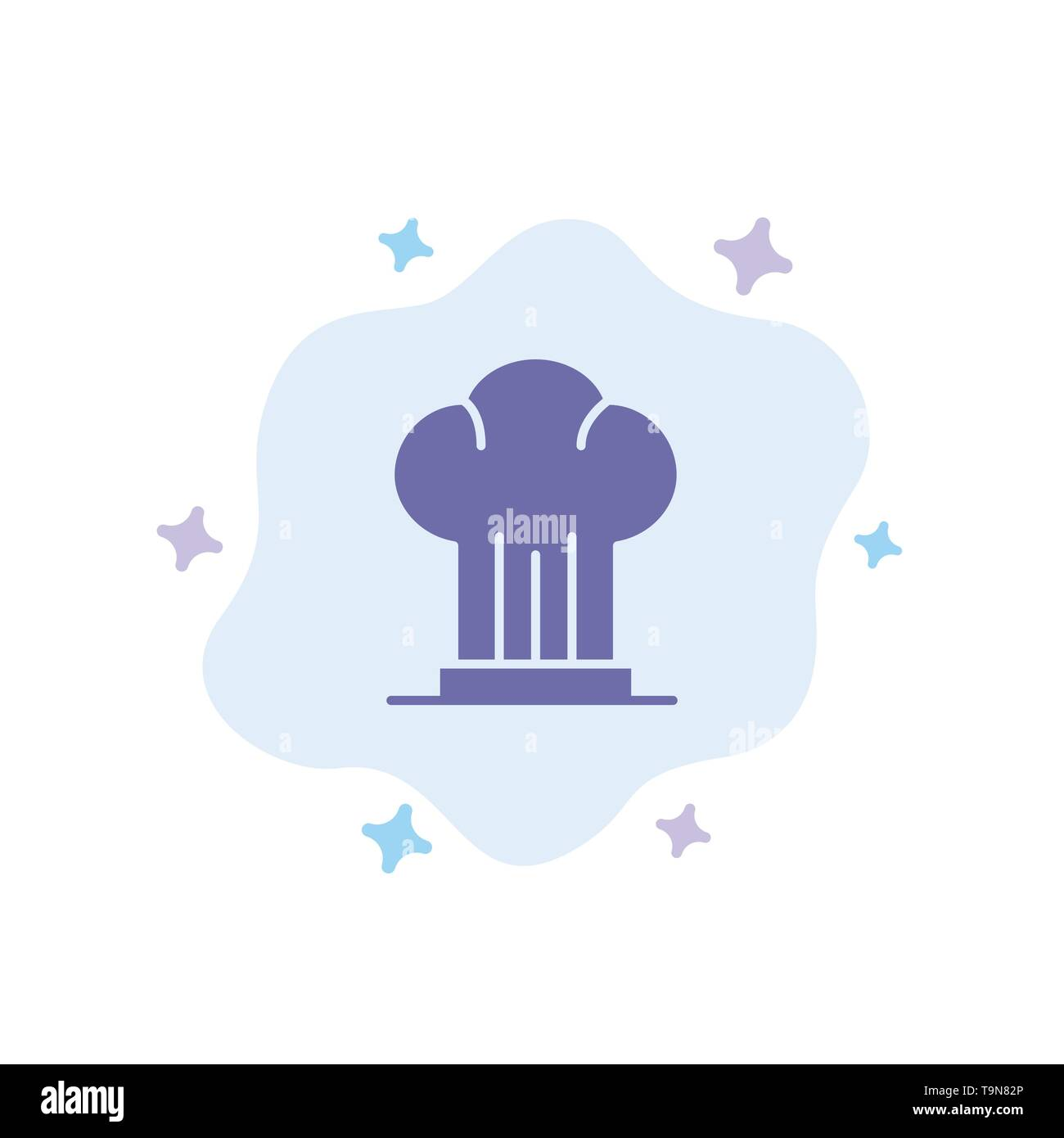 Cap, Chef, Cooker, Hat, Restaurant Blue Icon on Abstract Cloud Background - Stock Image