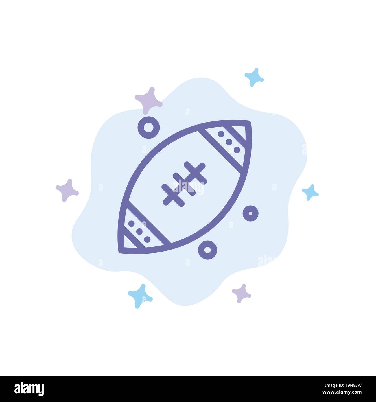 Ball, Rugby, Sports, Ireland Blue Icon on Abstract Cloud Background - Stock Image