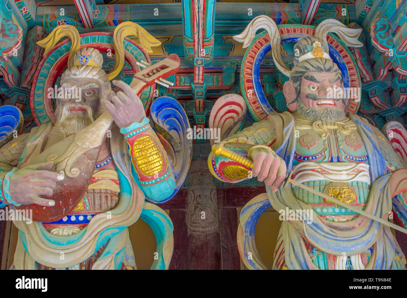 Seokguram Grotto and Bulguksa Temple UNESCO World Heritage Centre - beautiful huge colorful sculptures of two men - Stock Image