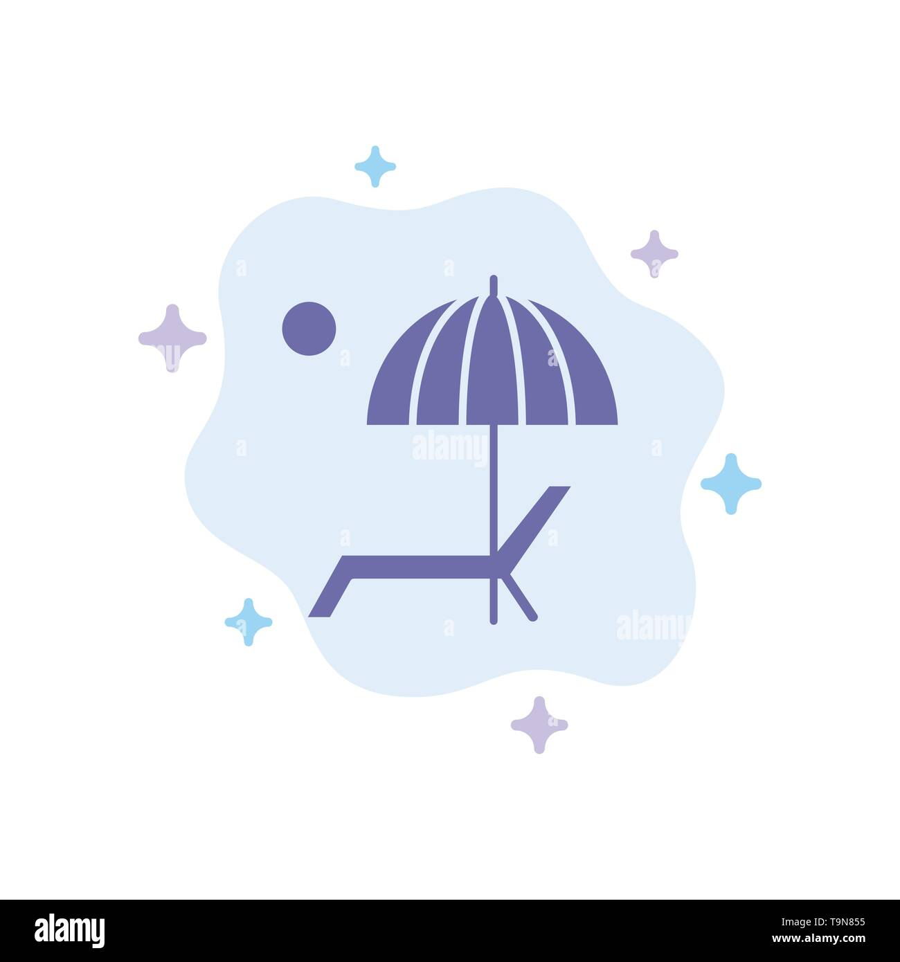 Beach, Umbrella, Bench, Enjoy, Summer Blue Icon on Abstract Cloud Background - Stock Image