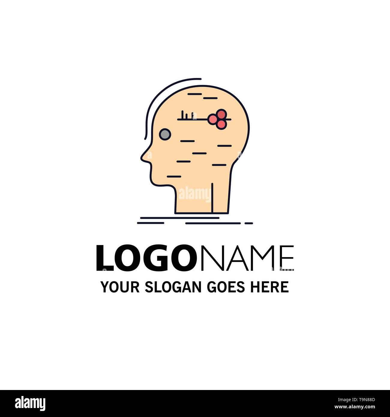 brain, hack, hacking, key, mind Flat Color Icon Vector - Stock Image