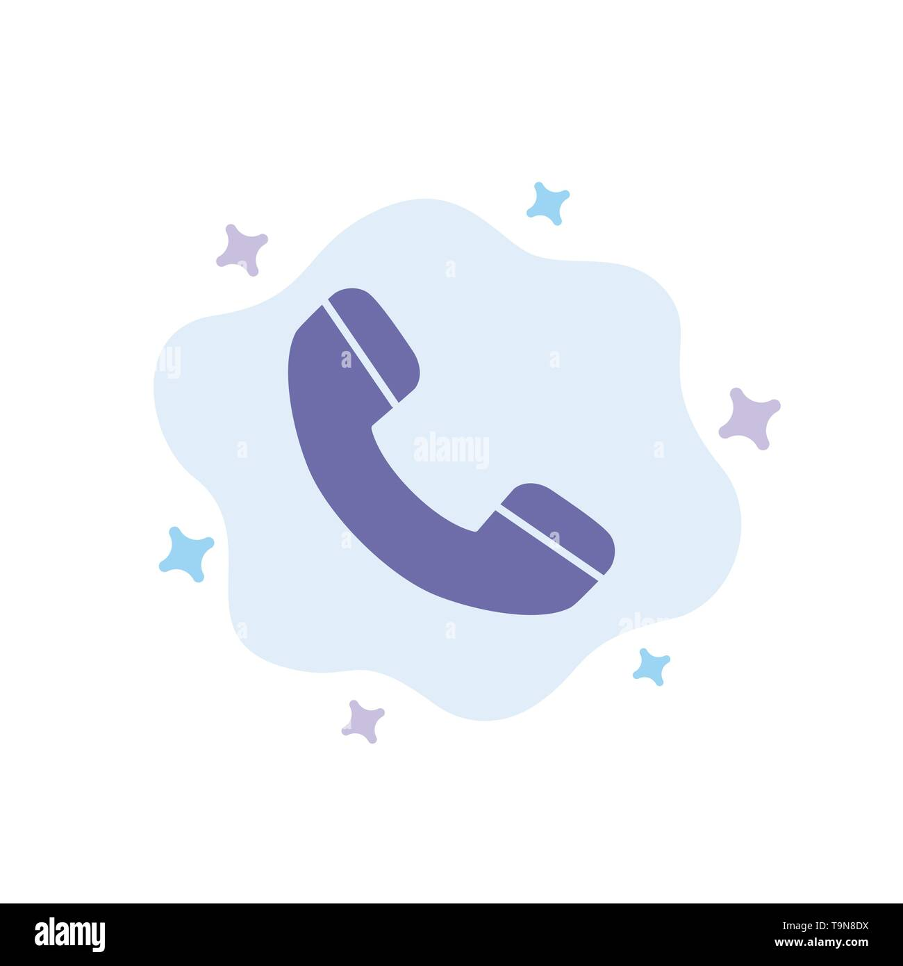 Call, Phone, Telephone Blue Icon on Abstract Cloud Background - Stock Image